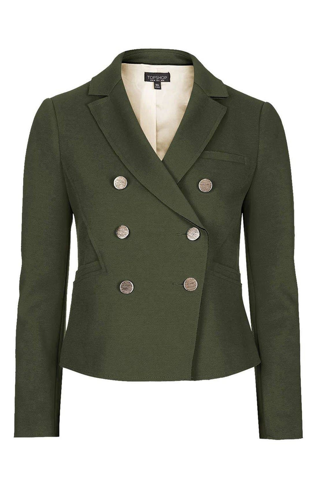Gold Button Double Breasted Blazer,                             Alternate thumbnail 4, color,                             Green