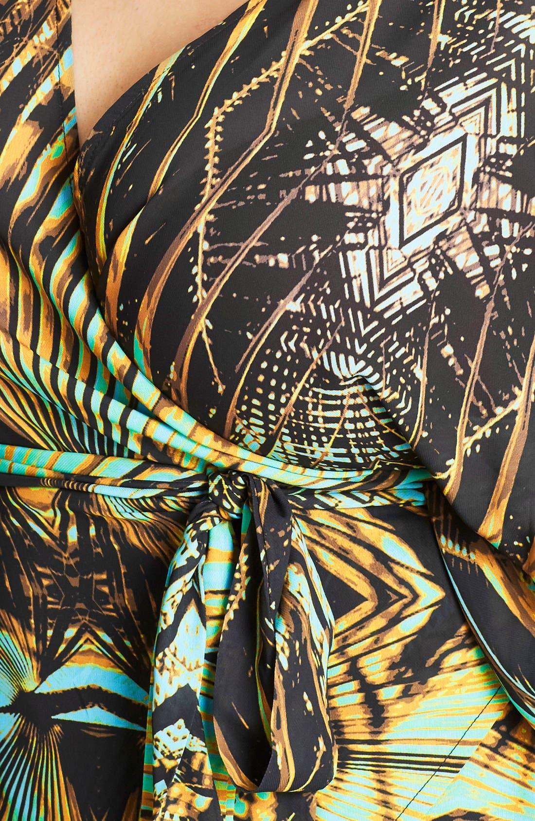 Alternate Image 4  - City Chic Jungle Print Wrap Top (Plus Size)