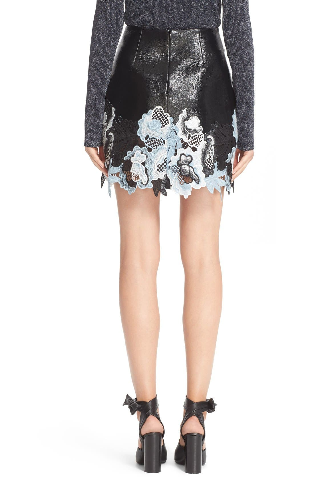 Alternate Image 3  - 3.1 Phillip Lim Lace Trim Crinkle Patent Vinyl Skirt