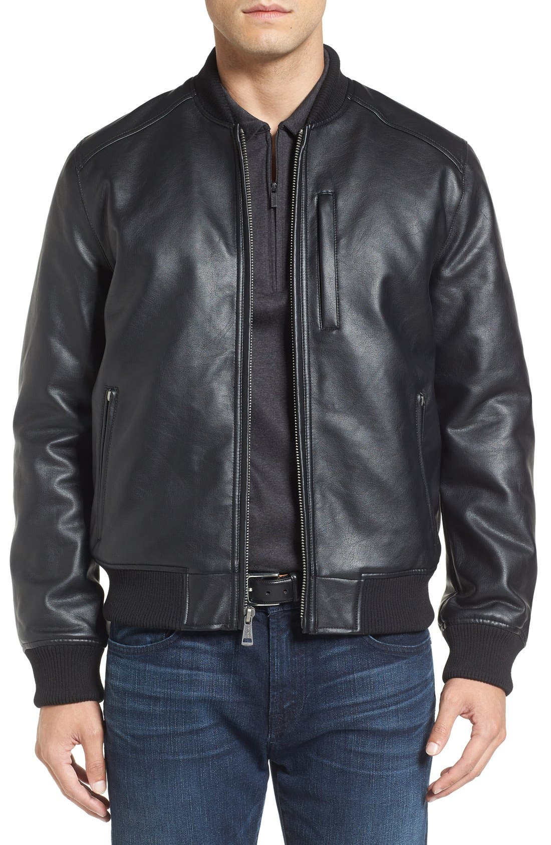 Faux Leather Varsity Jacket,                         Main,                         color, Black