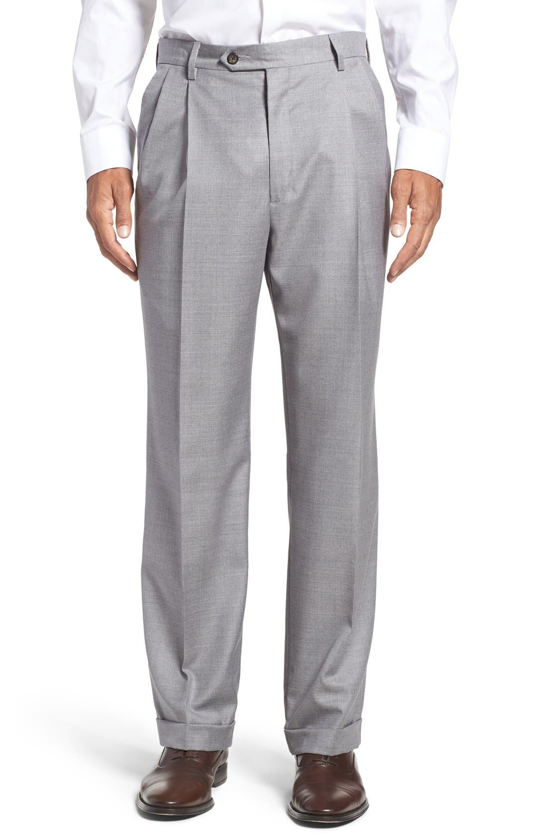 Pleated Solid Wool Trousers,                             Main thumbnail 1, color,                             Light Grey