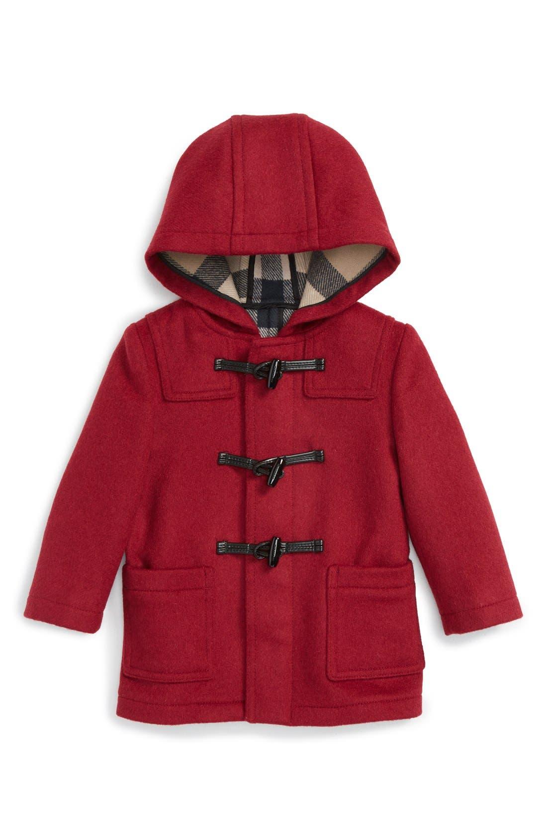 Main Image - Burberry 'Brogan' Hooded Wool Toggle Coat (Baby Girls)