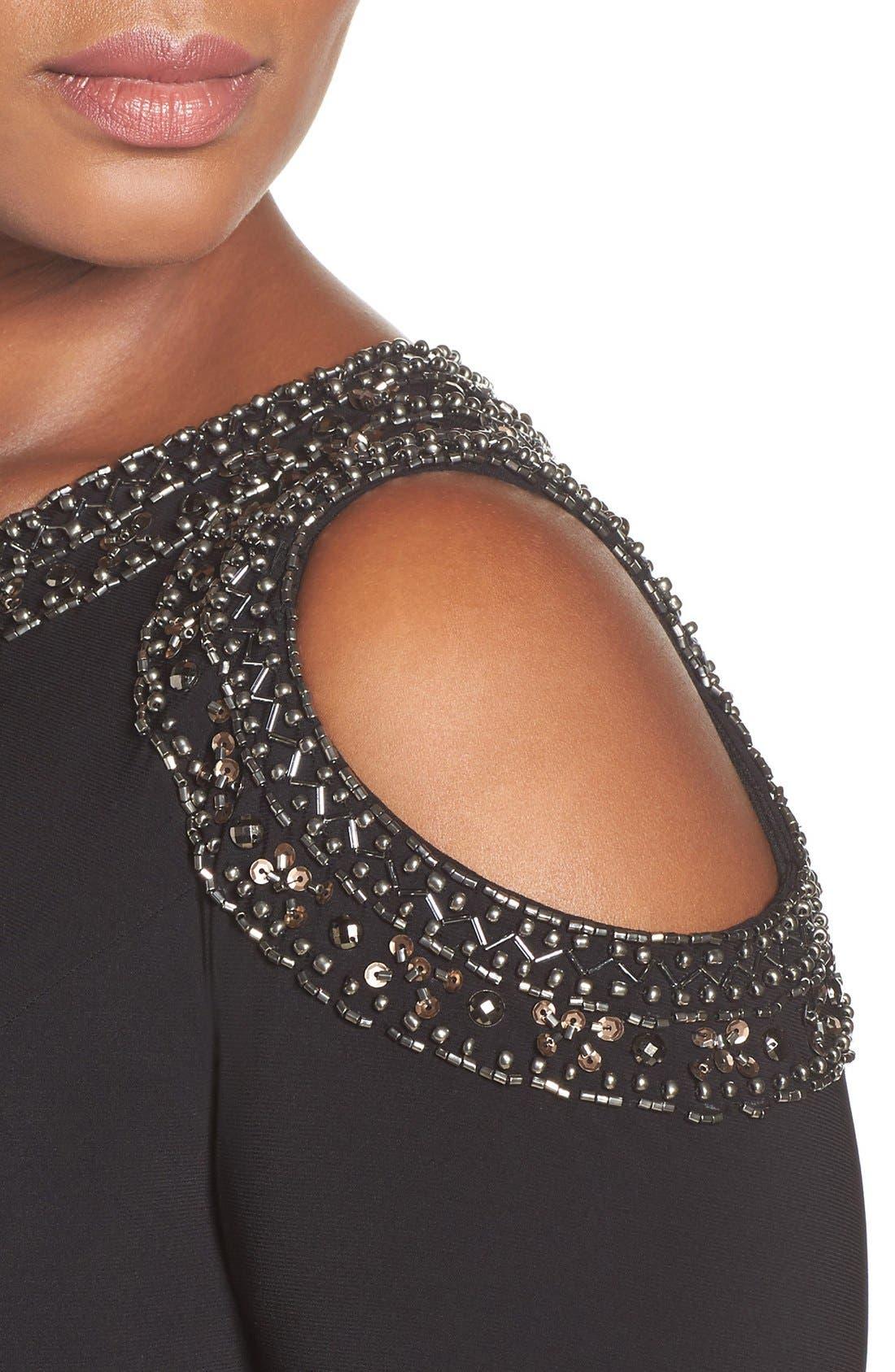 Embellished Cold Shoulder Shirred Jersey Gown,                             Alternate thumbnail 4, color,                             Black/ Gold