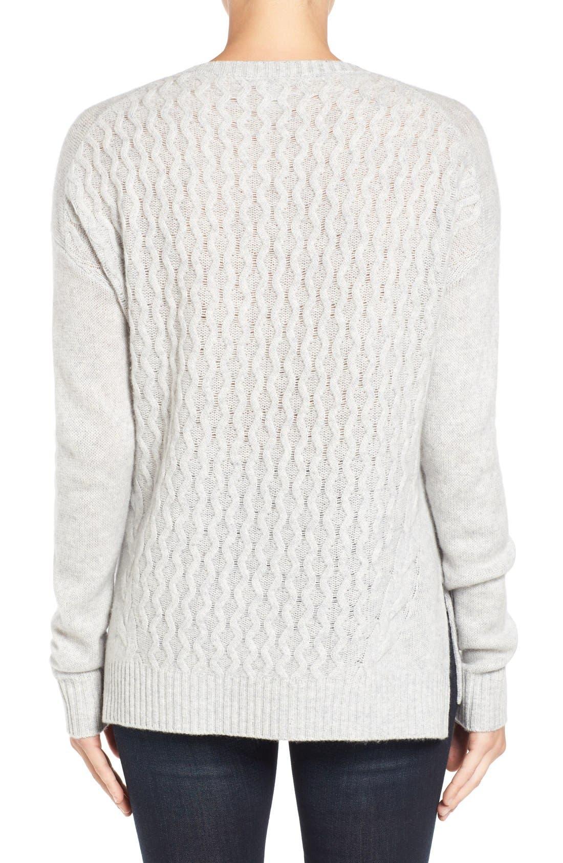 Alternate Image 3  - Halogen® Cable Knit Wool & Cashmere Sweater (Regular & Petite)