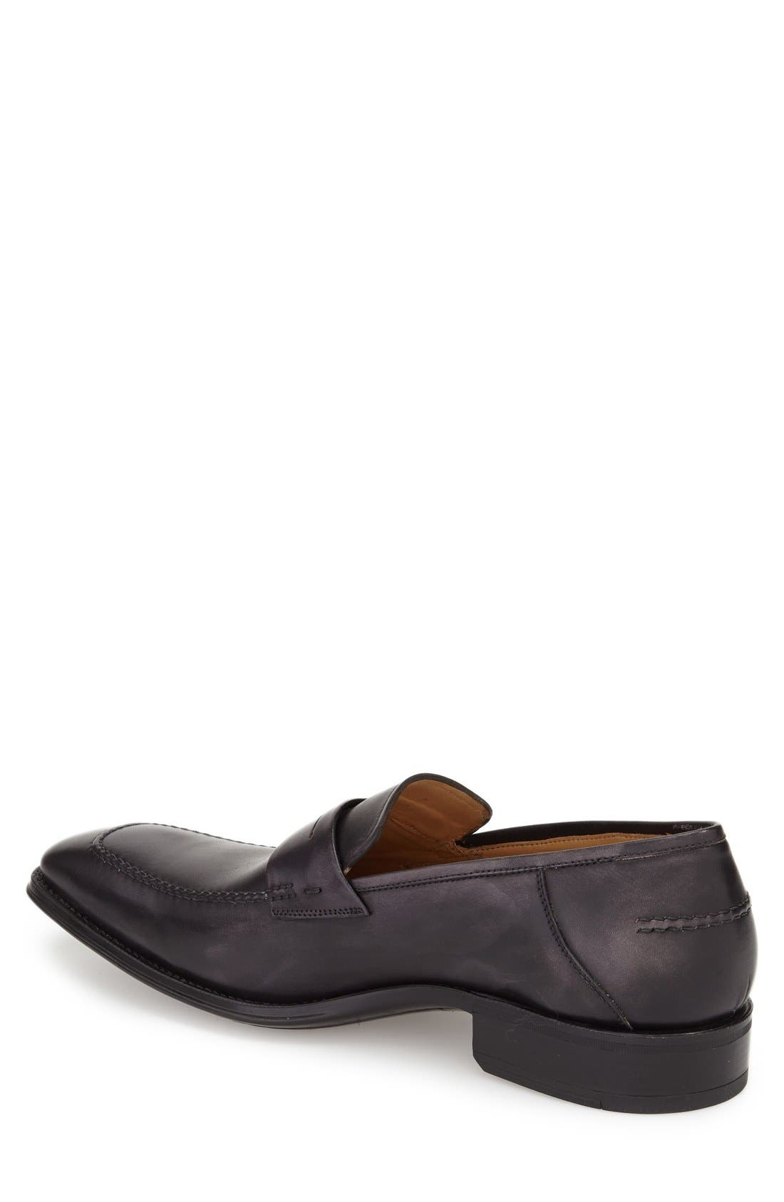 'Trento' Penny Loafer,                             Alternate thumbnail 2, color,                             Black