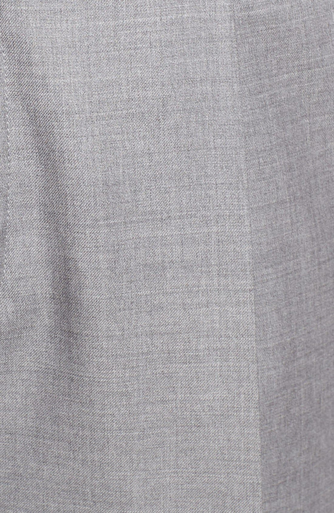 Pleated Solid Wool Trousers,                             Alternate thumbnail 2, color,                             Light Grey