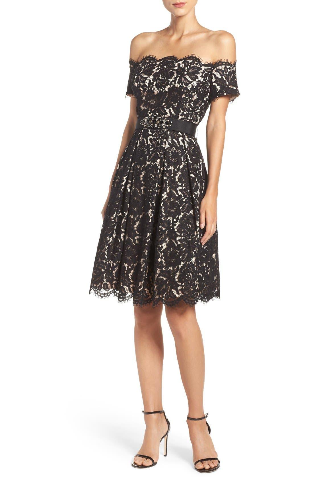 Alternate Image 4  - Eliza J Embellished Lace Fit & Flare Dress (Regular & Petite)