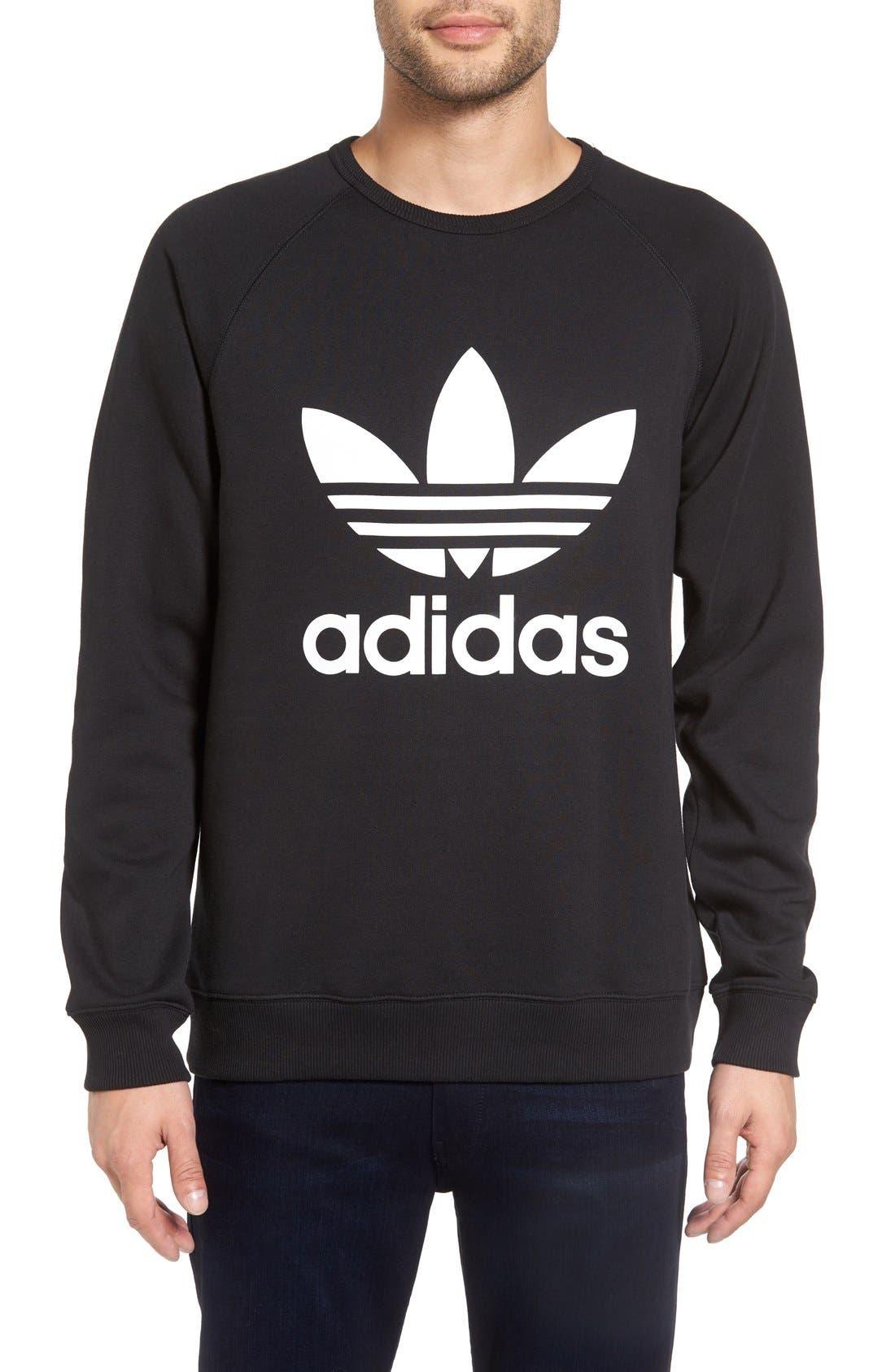 Slim Fit Trefoil Logo Crewneck Sweatshirt,                         Main,                         color, Black