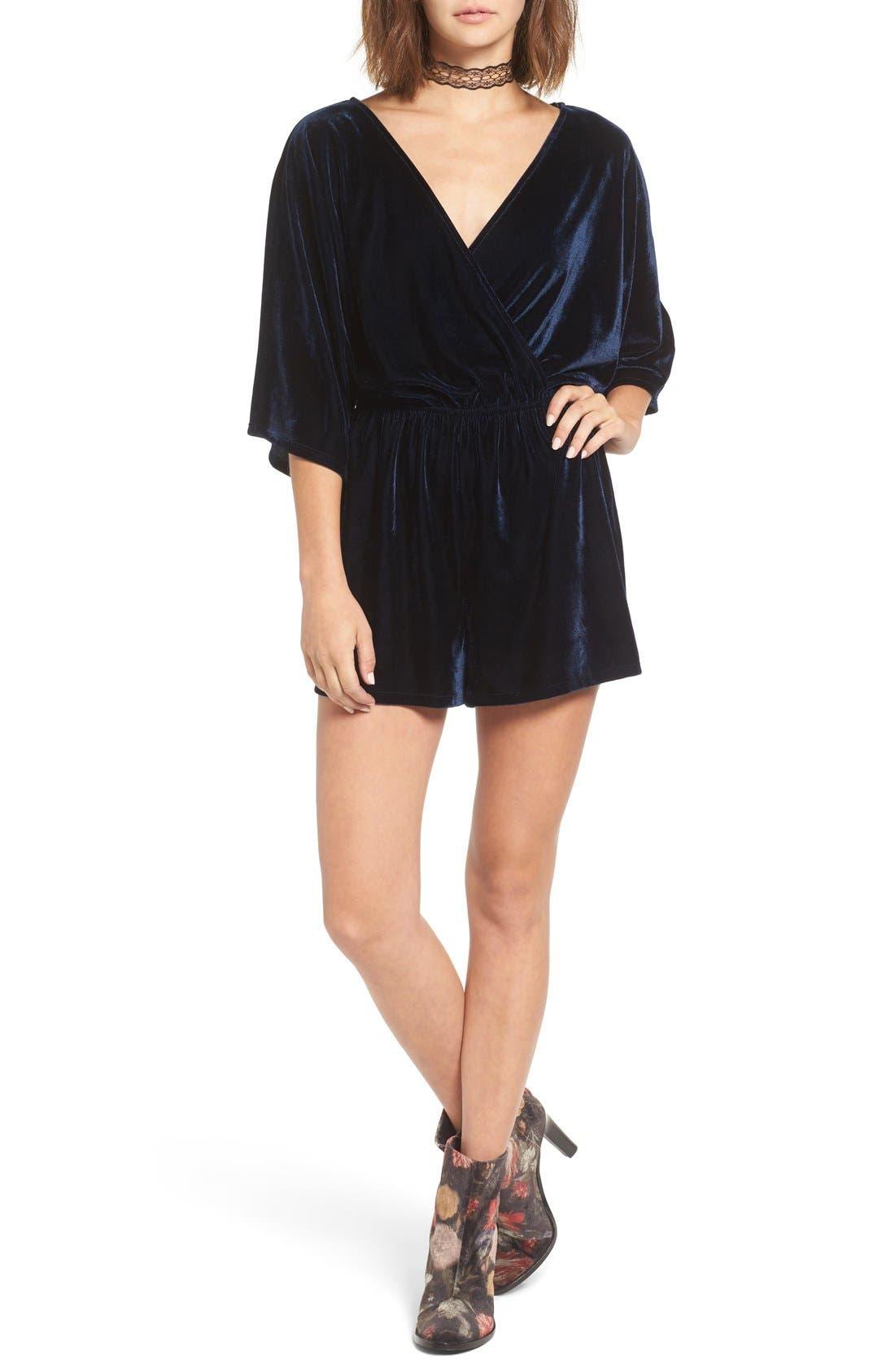 Main Image - One Clothing Surplice Velvet Romper