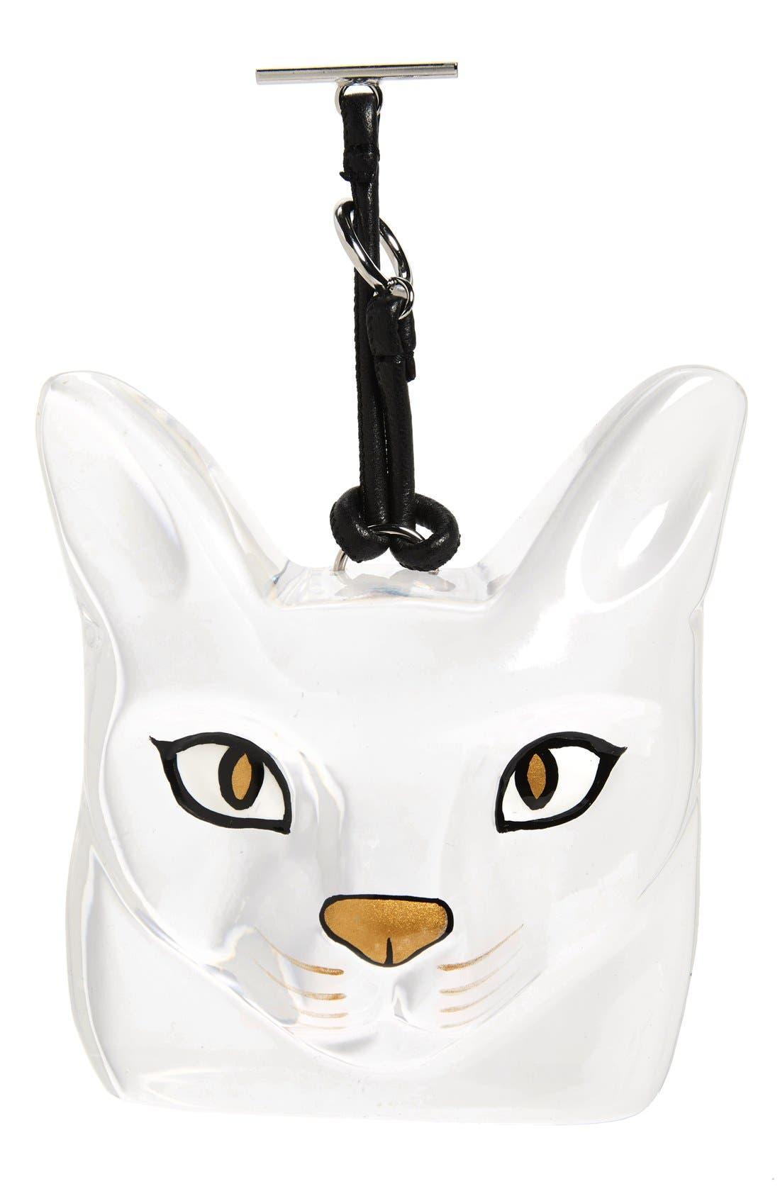 Cat Face Bag Charm,                         Main,                         color, Transparent