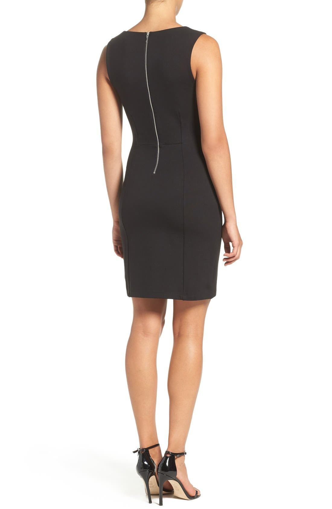 'Lula' Stretch Body-Con Dress,                             Alternate thumbnail 2, color,                             Black