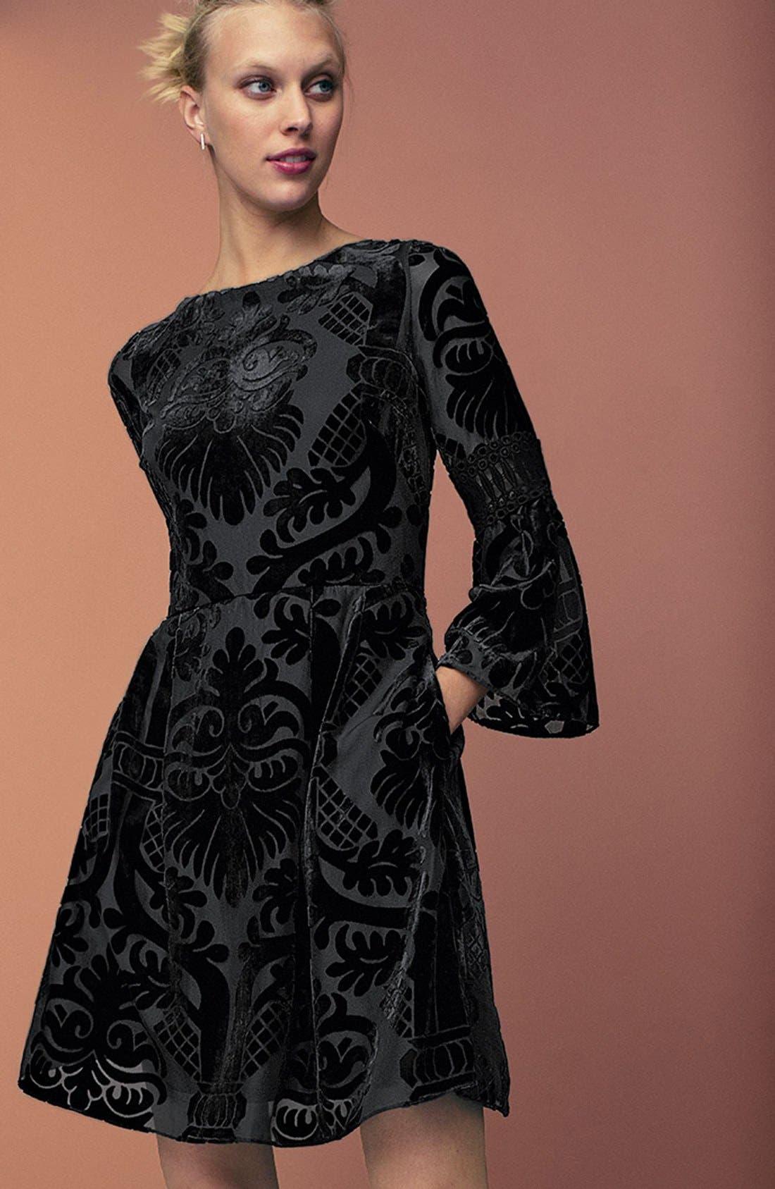 Alternate Image 8  - Eliza J Burnout Velvet Fit & Flare Dress (Regular & Petite)