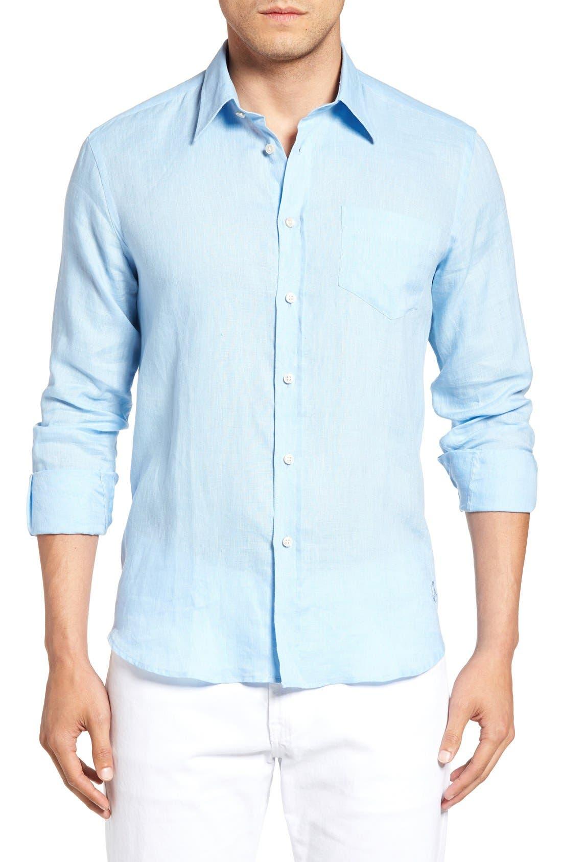 Caroubie Regular Fit Linen Sport Shirt,                             Main thumbnail 1, color,                             Sky Blue