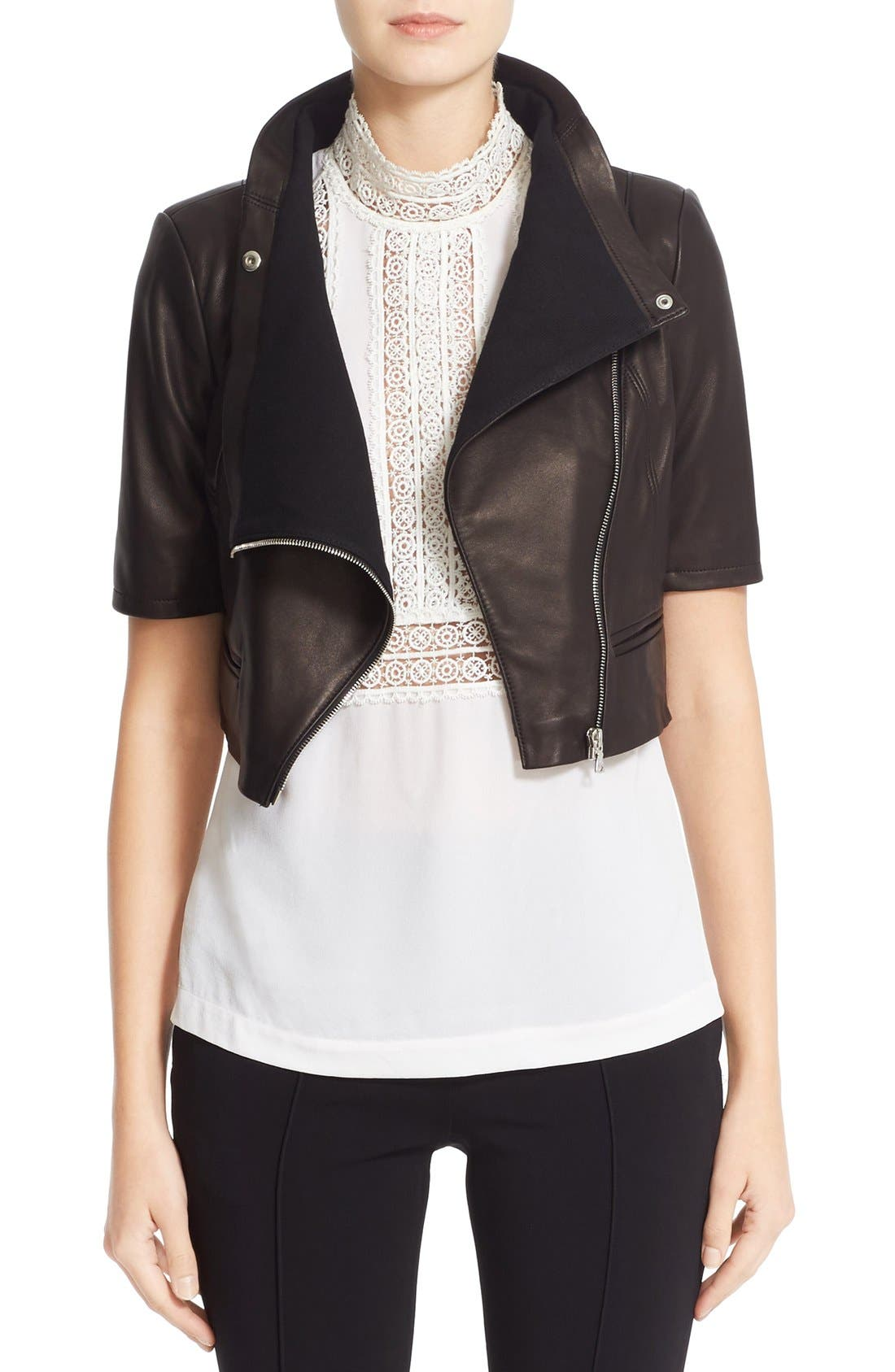 'Gimmy' Crop Lambskin Leather Jacket,                             Main thumbnail 1, color,                             Jet