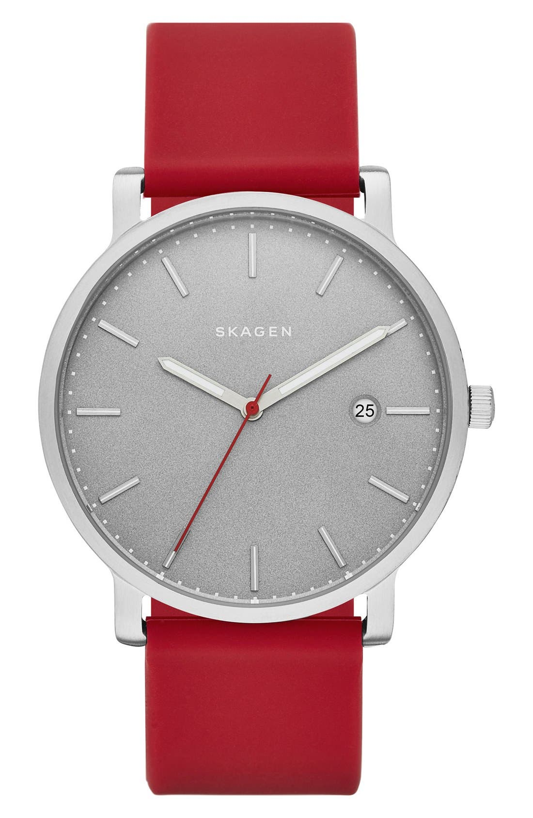 Alternate Image 1 Selected - Skagen Hagen Round Silicone Strap Watch, 40mm