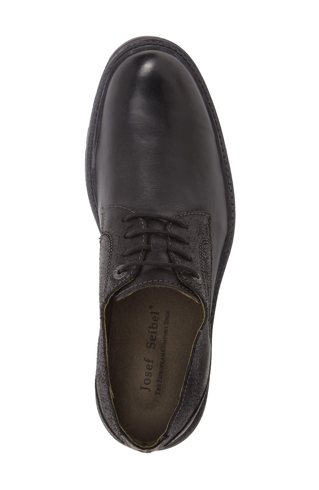 Oscar Plain Toe Derby,                             Alternate thumbnail 3, color,                             Black Leather