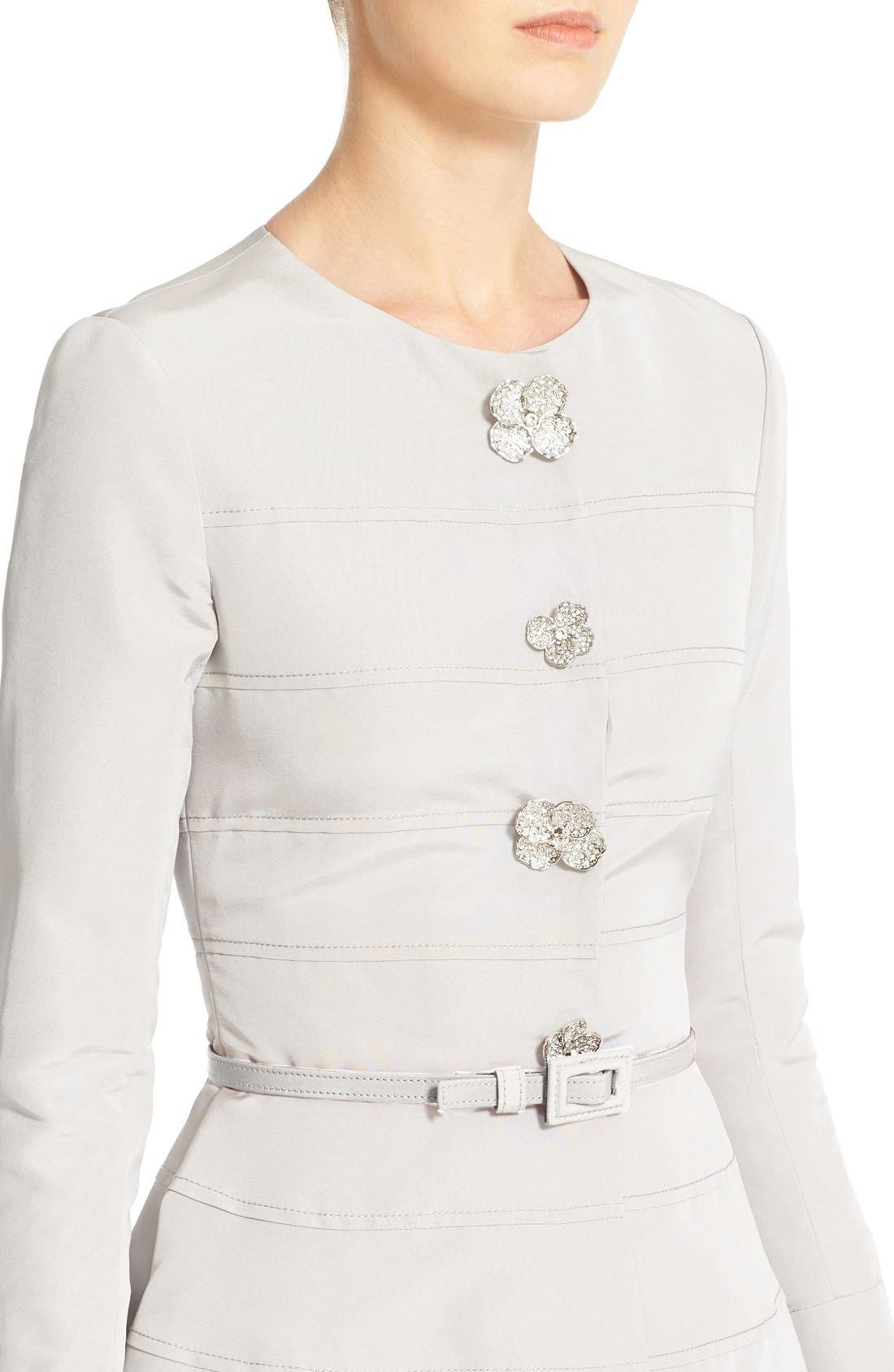 Alternate Image 5  - Carolina Herrera Embellished Belted Silk Faille A-Line Dress