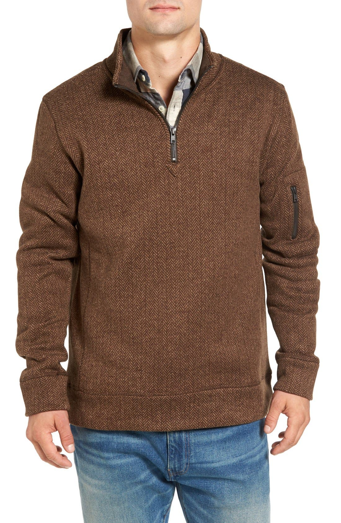 Lance Herringbone Zip Mock Neck Sweater,                         Main,                         color, Bittersweet Heather