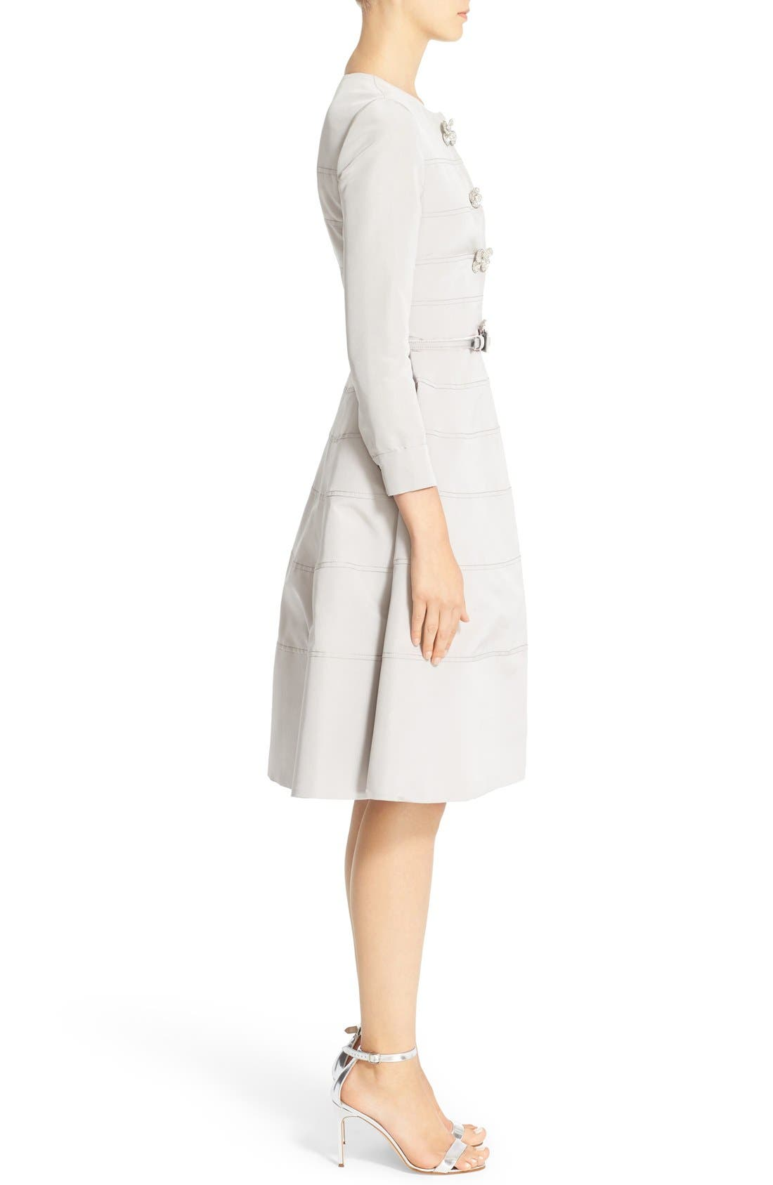 Alternate Image 4  - Carolina Herrera Embellished Belted Silk Faille A-Line Dress