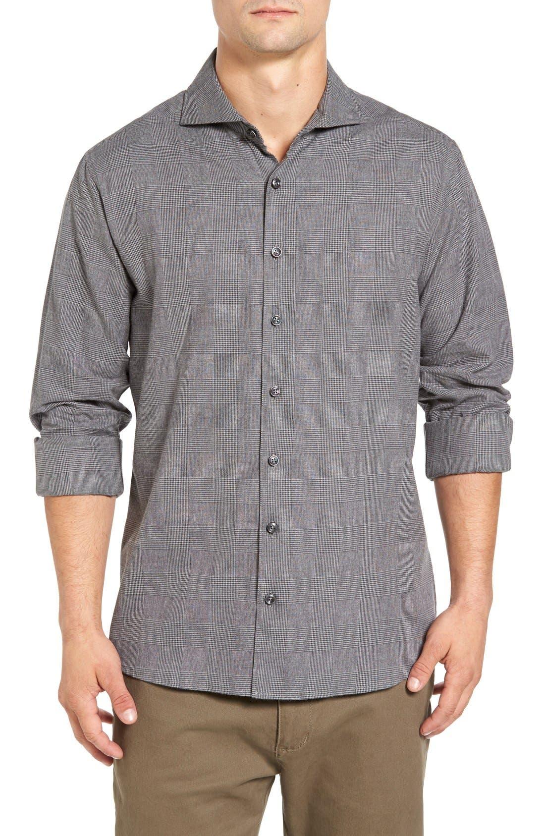 Main Image - Singer + Sargent Regular Fit Glen Plaid Sport Shirt