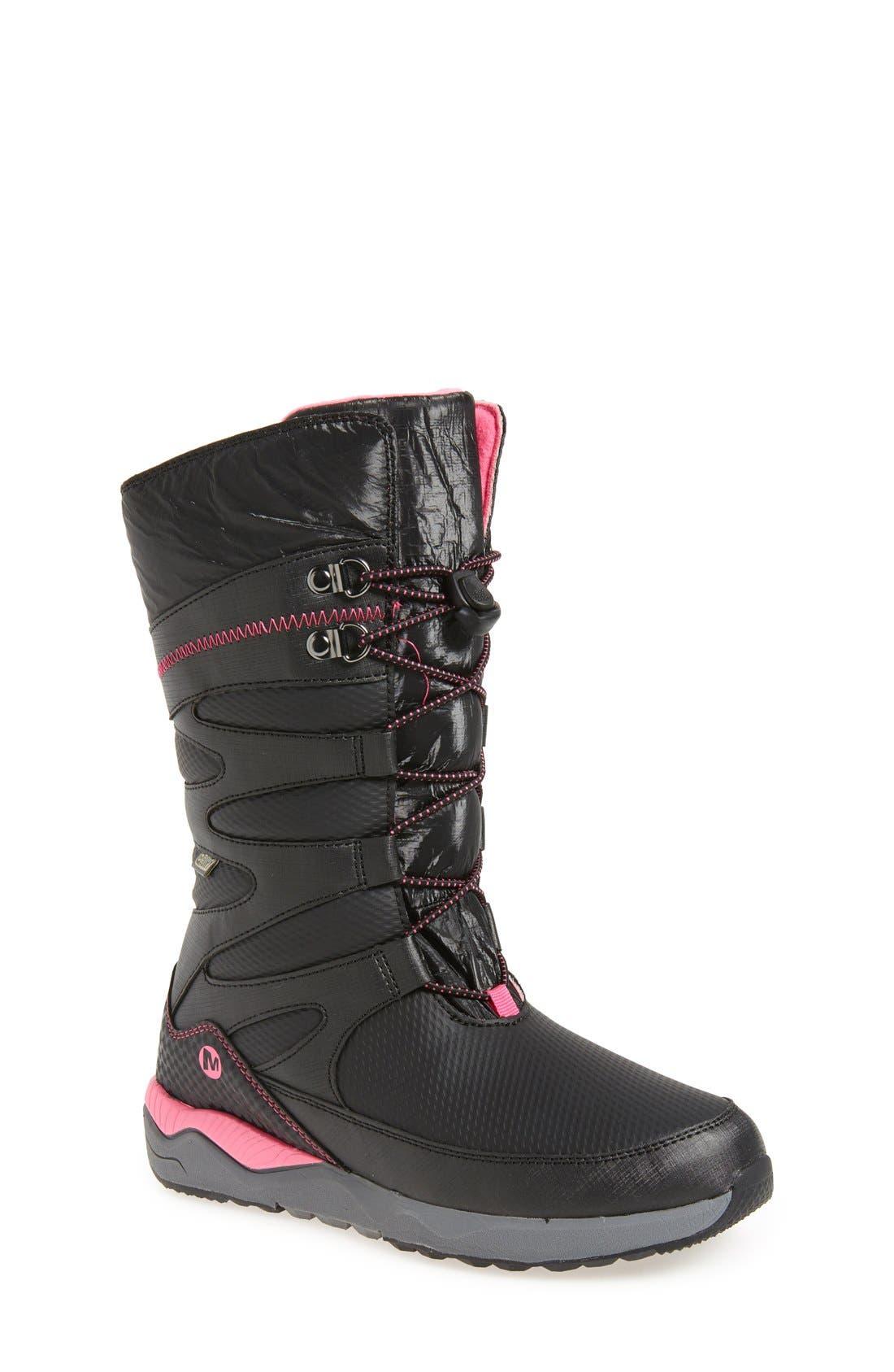 'Arctic Blast' Waterproof Snow Boot,                             Main thumbnail 1, color,                             Black/ Pink