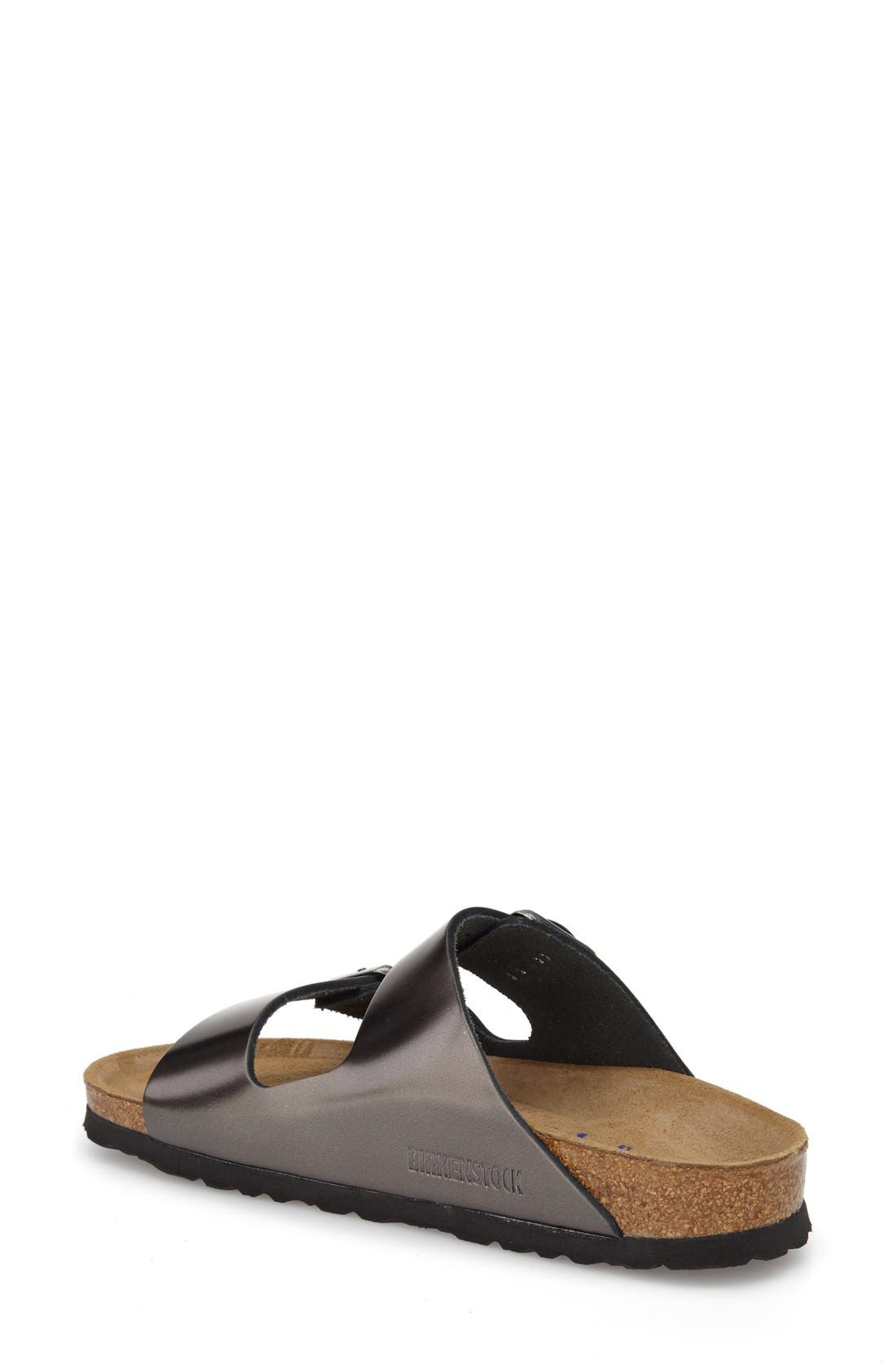 'Arizona' Soft Footbed Sandal,                             Alternate thumbnail 2, color,                             Metallic Anthracite Leather