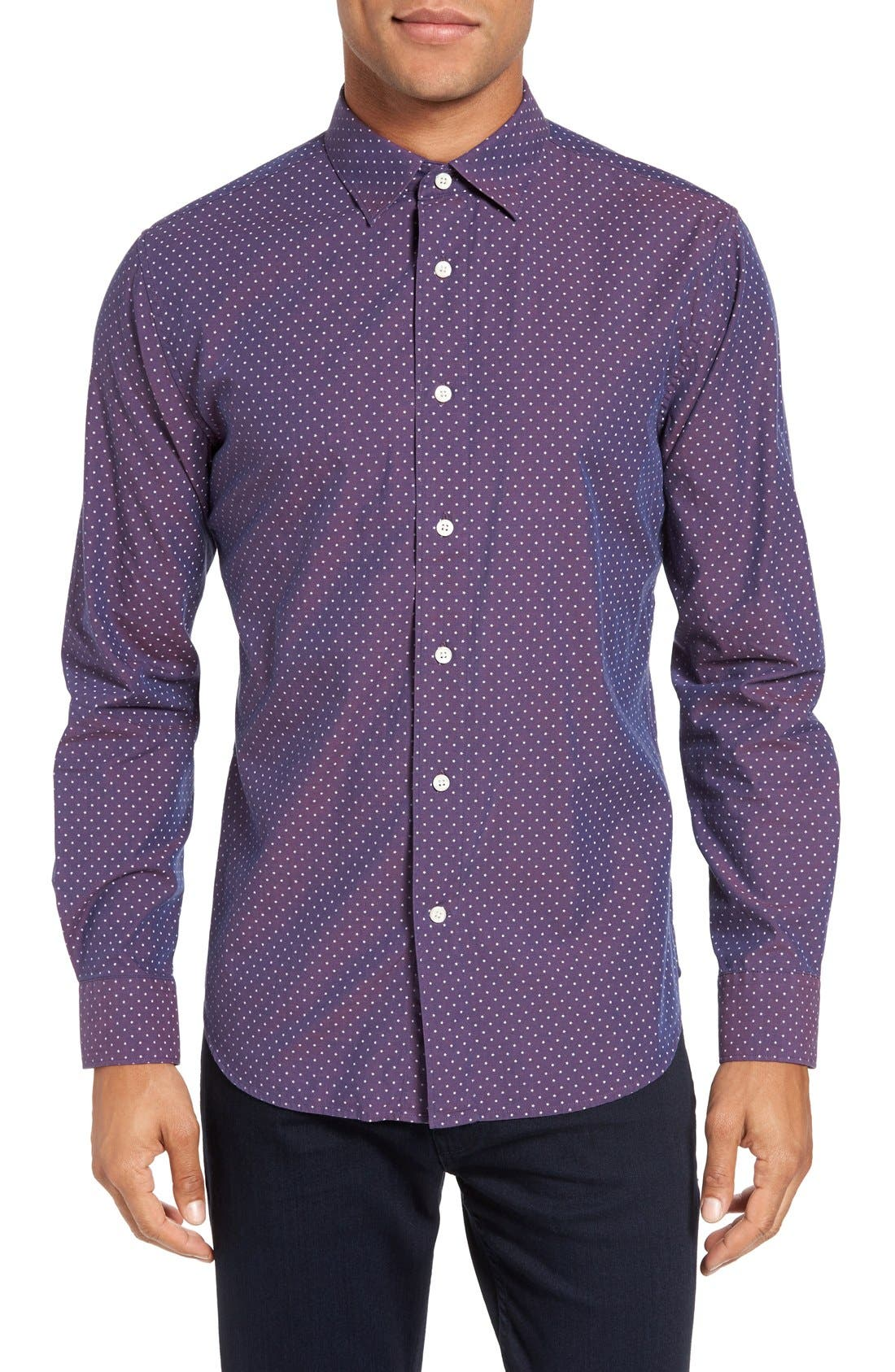 Slim Fit Star Print Sport Shirt,                         Main,                         color, Burgundy