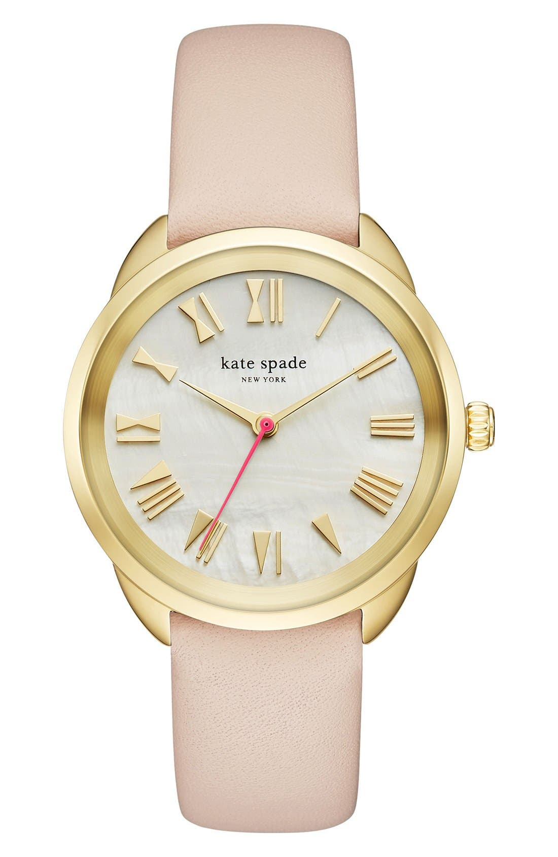 Alternate Image 1 Selected - kate spade new york crosstown leather strap watch, 34mm