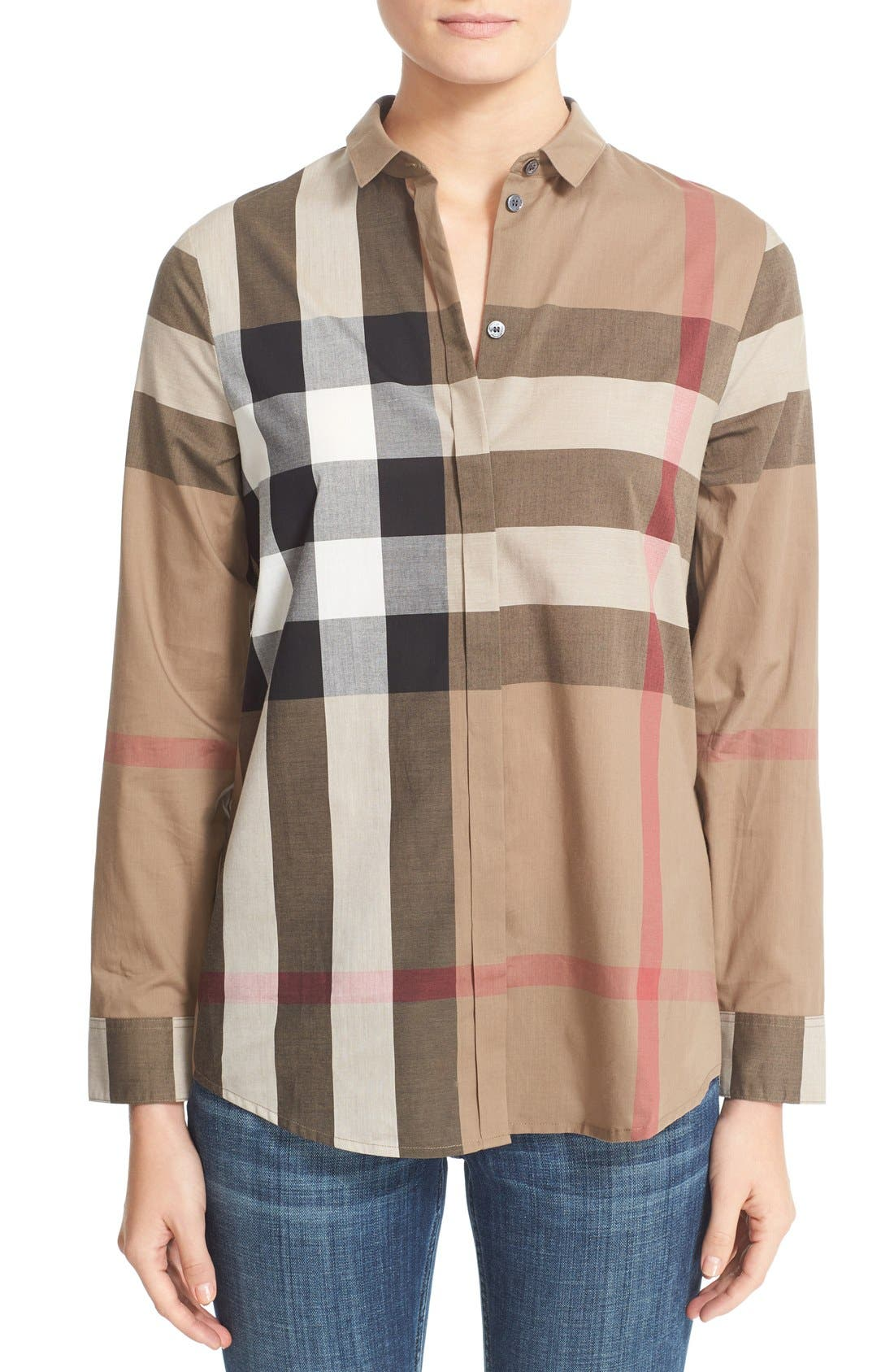 Check Pattern Cotton Shirt,                             Main thumbnail 1, color,                             Taupe Brown