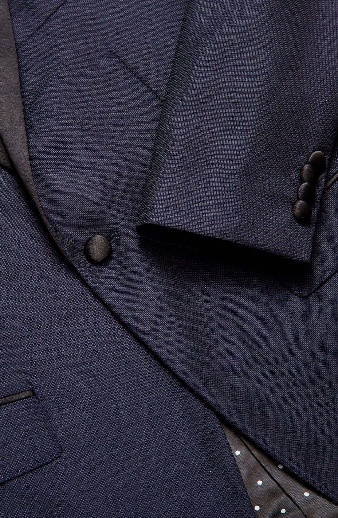 Trim Fit Wool Dinner Jacket,                             Alternate thumbnail 3, color,                             Navy Hopsack