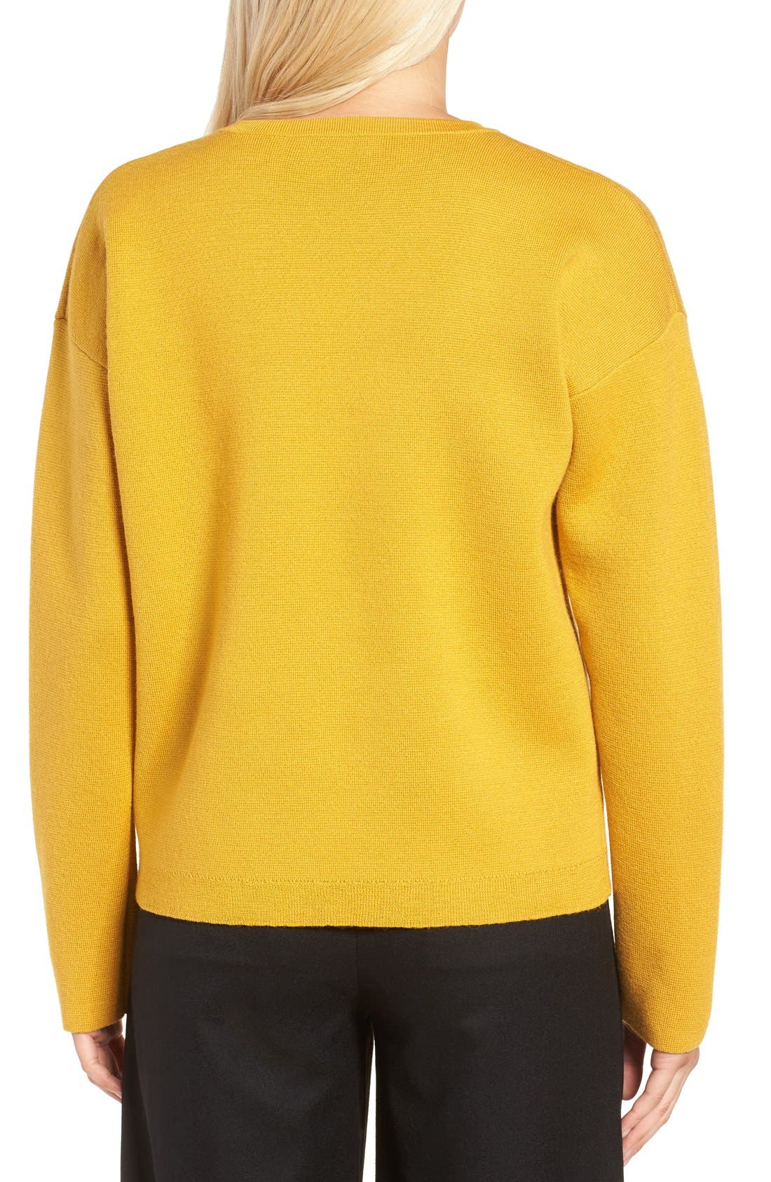 Alternate Image 2  - J.Crew Collection Bonded Lace-Up Sweater