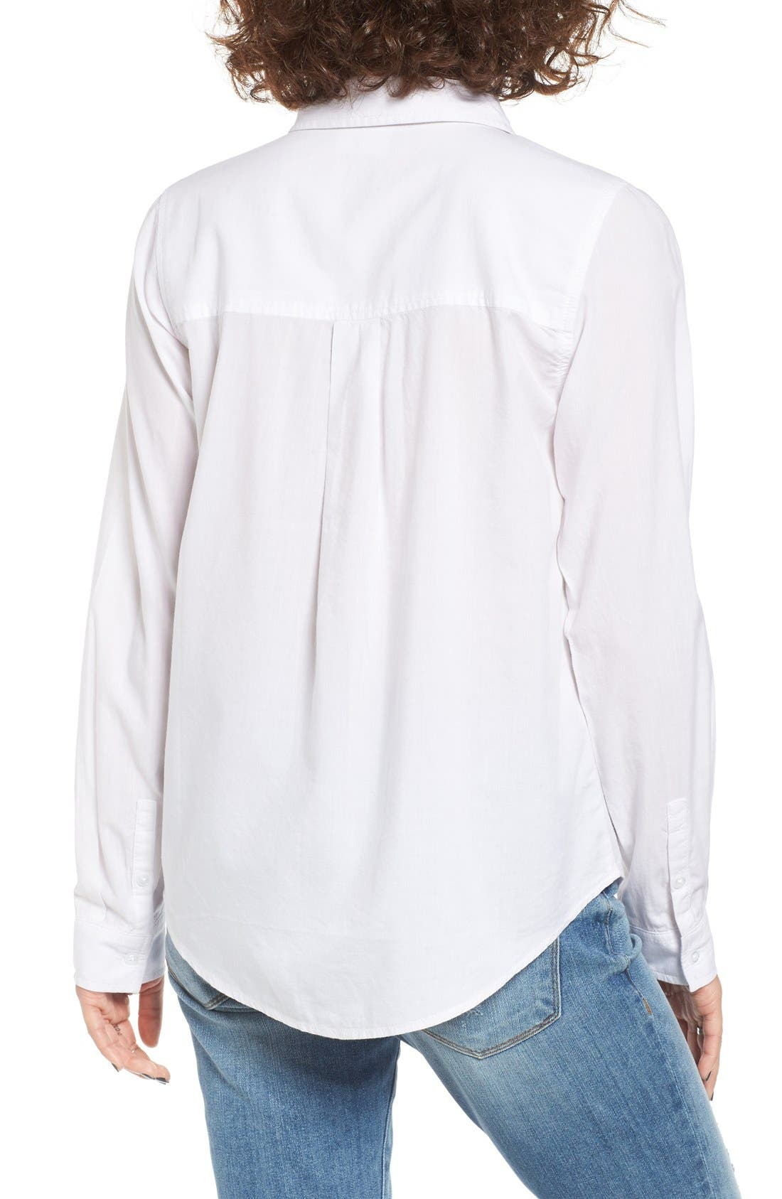 Cotton Blend Button Down Shirt,                             Alternate thumbnail 3, color,                             White