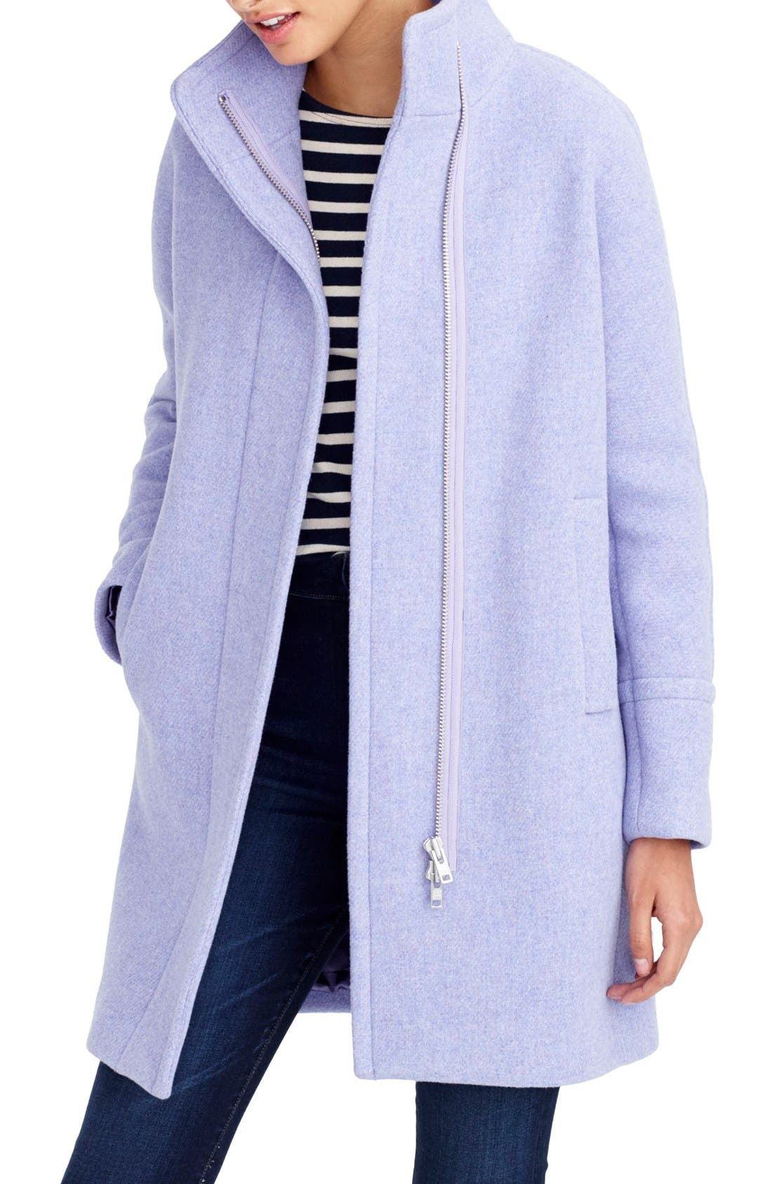 Stadium Cloth Cocoon Coat,                             Main thumbnail 1, color,                             Heather French Violet