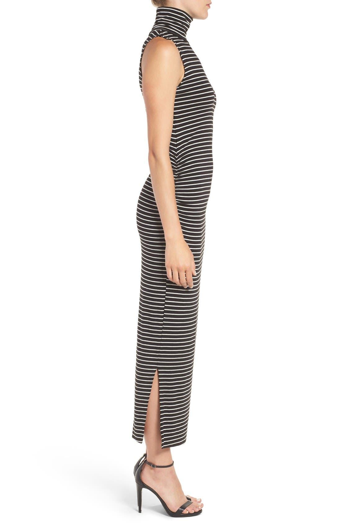 Turtleneck Maxi Dress,                             Alternate thumbnail 3, color,                             Amsterdam Stripe