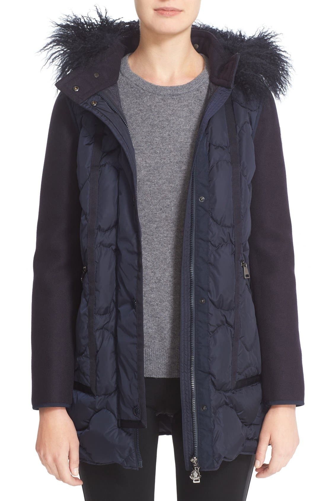 Theodora Water Resistant Hooded Jacket with Genuine Mongolian Fur Trim,                         Main,                         color, Navy