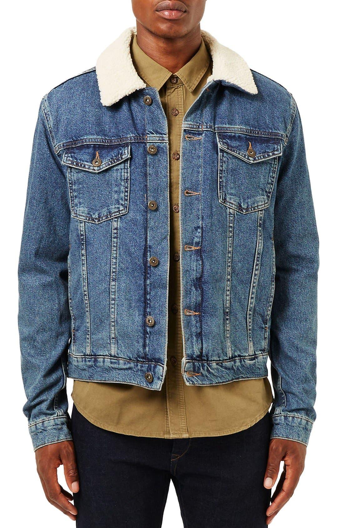 Borg Denim Jacket,                         Main,                         color, Blue