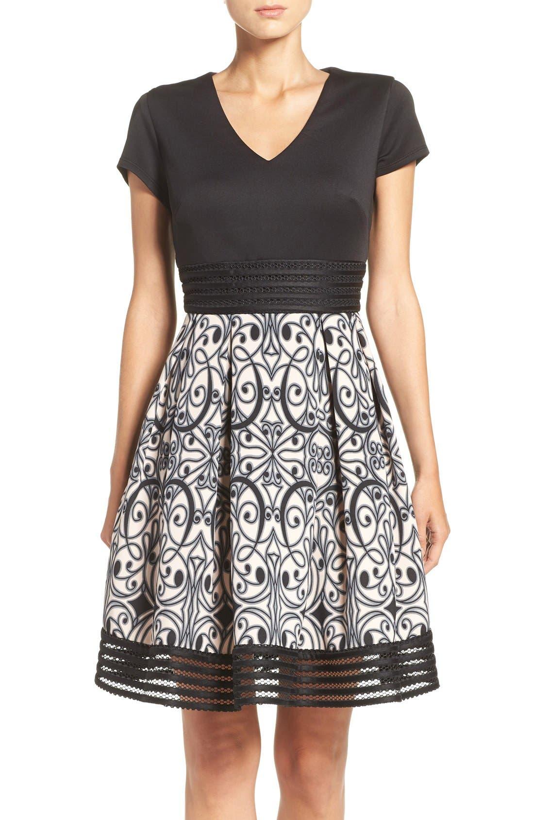 Taylor Dresses Scuba Fit & Flare Dress