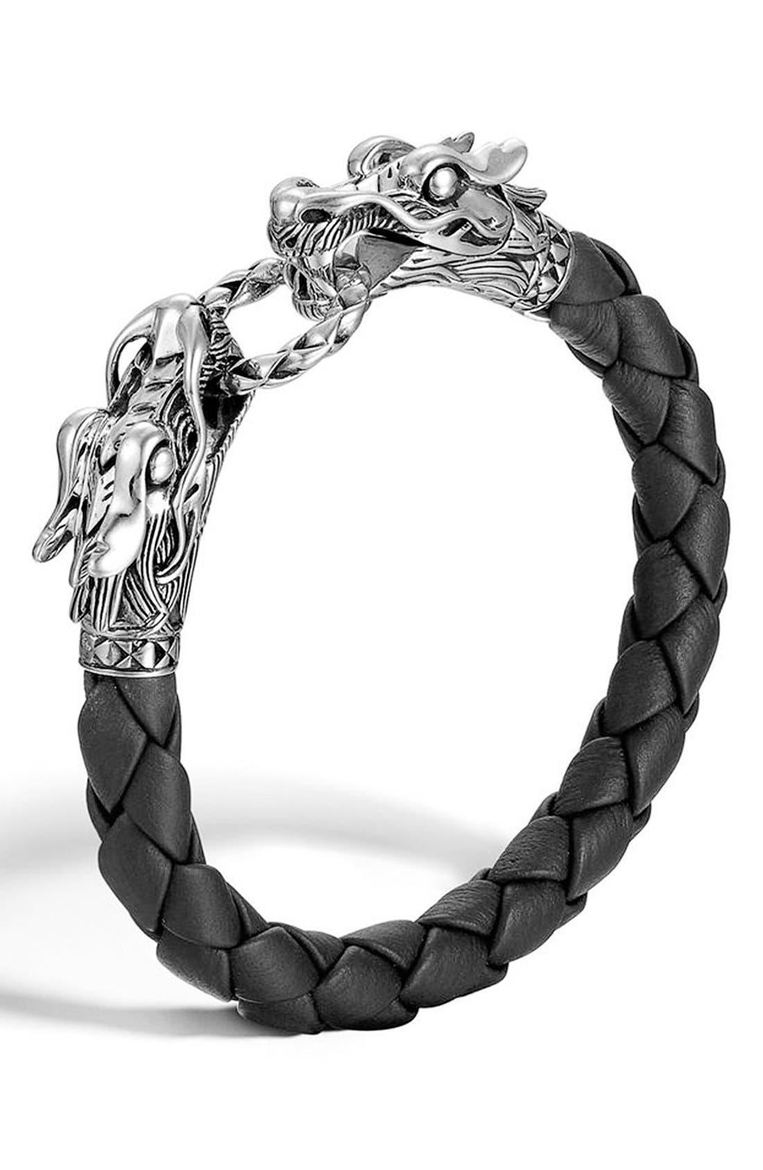 'Legends' Leather Dragon Bracelet,                         Main,                         color, Sterling Silver