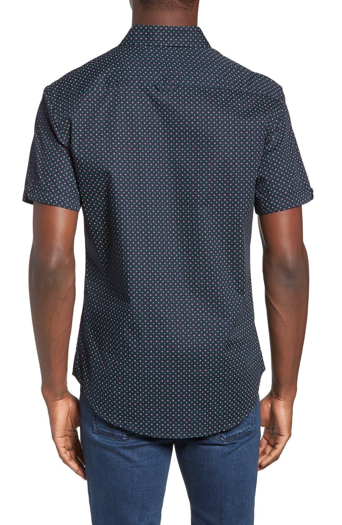 Chameleon Trim Fit Print Woven Shirt,                             Alternate thumbnail 2, color,                             Green