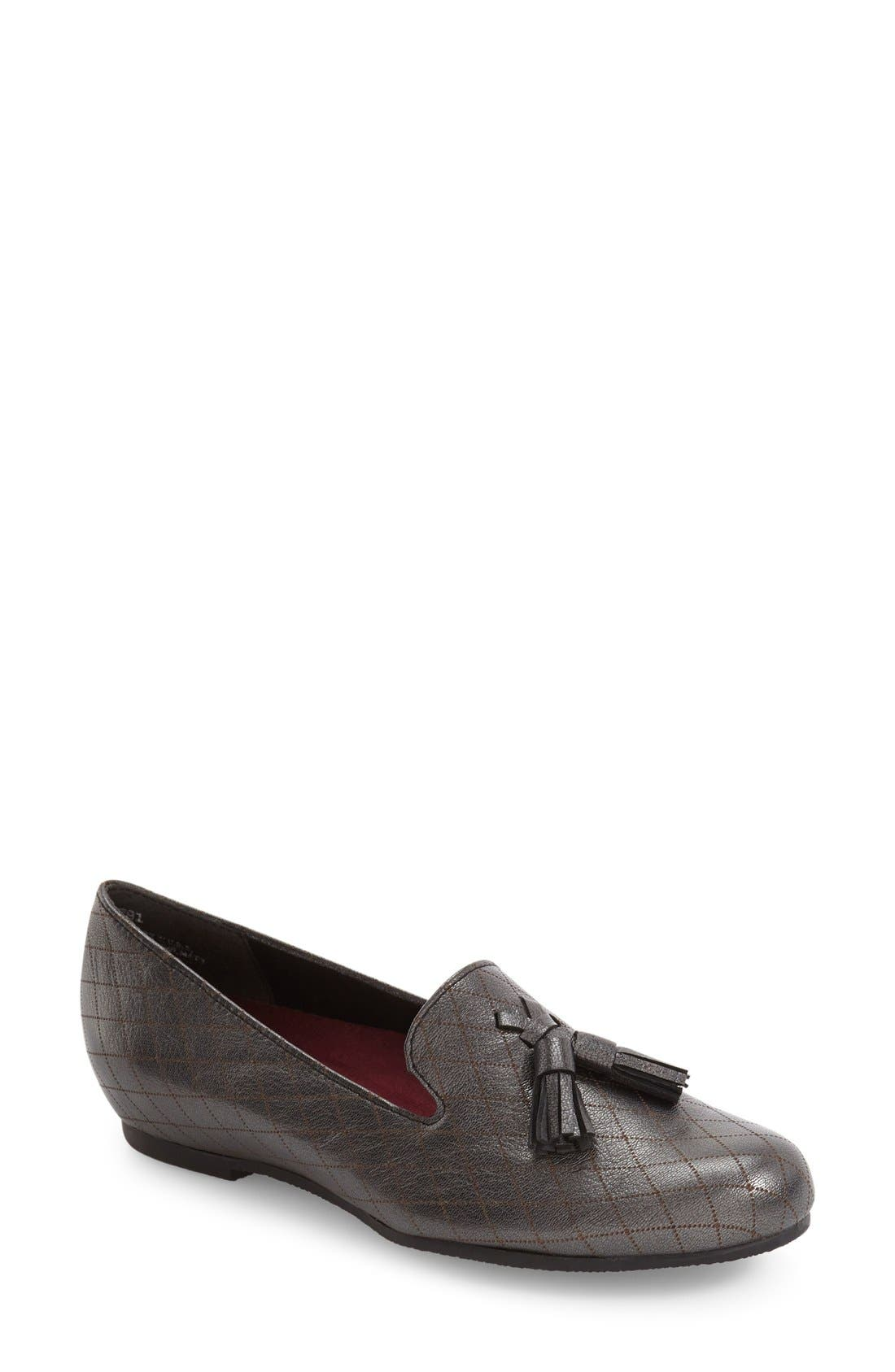 Tallie Tassel Loafer,                             Main thumbnail 1, color,                             Black Graphite Leather