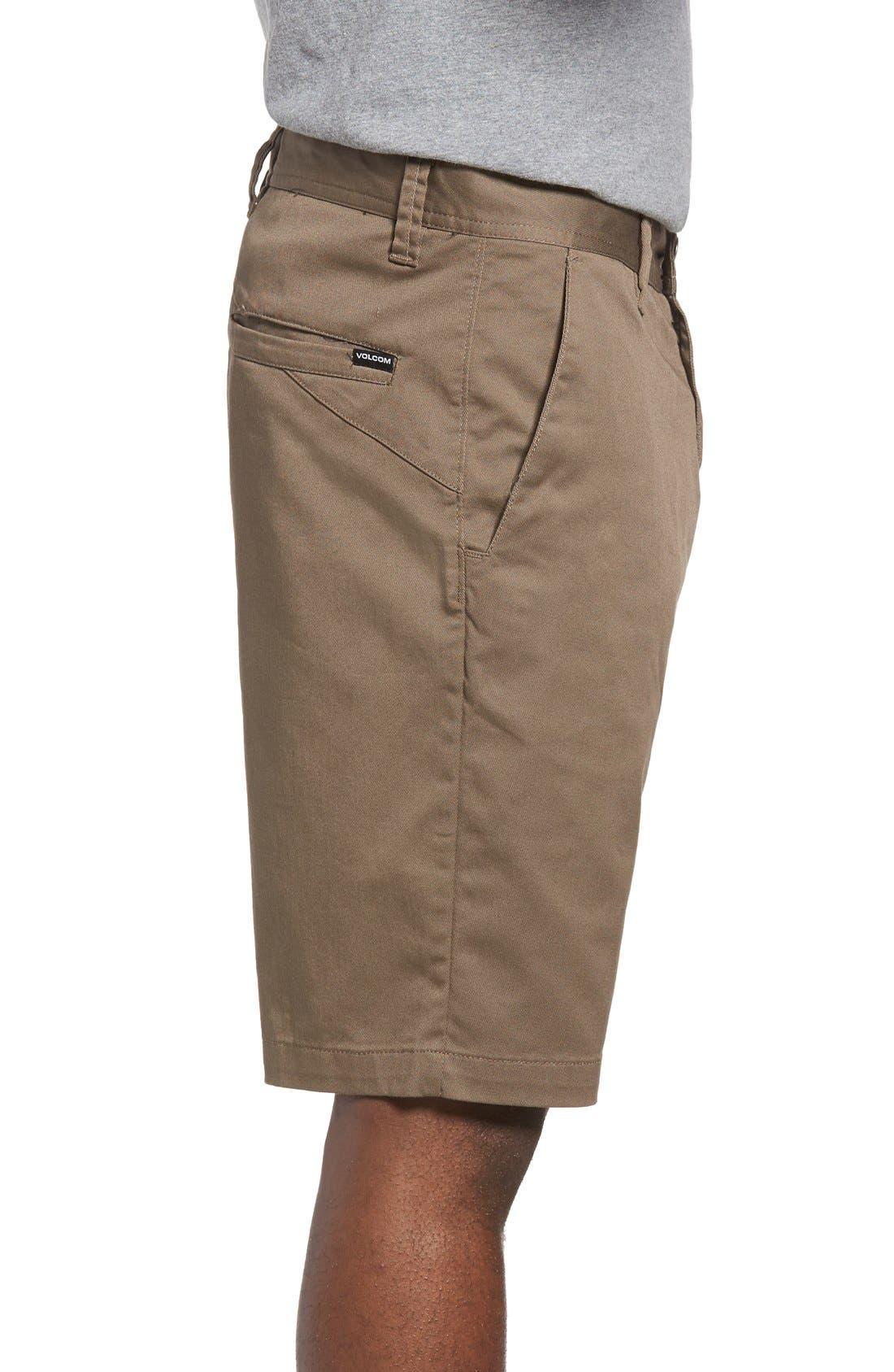 'Modern' Stretch Chino Shorts,                             Alternate thumbnail 3, color,                             Mushroom