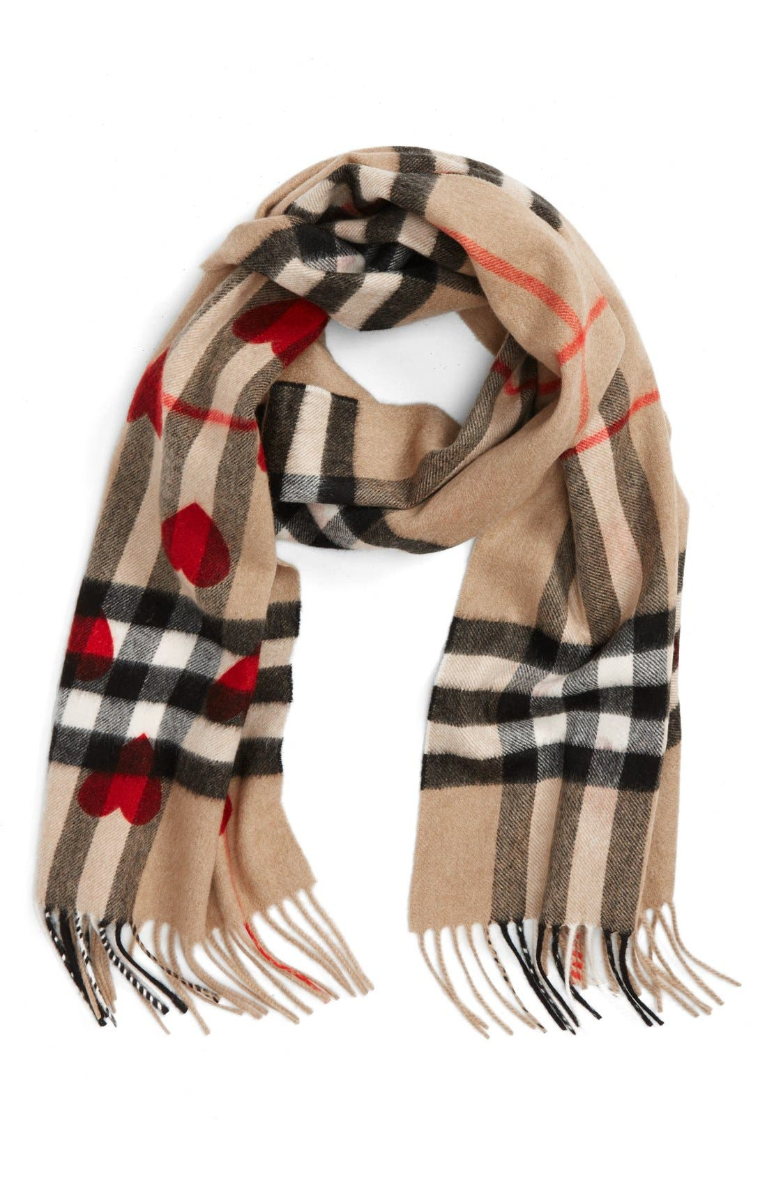 Heart & Giant Check Fringed Cashmere Scarf,                             Main thumbnail 1, color,                             Parade Red