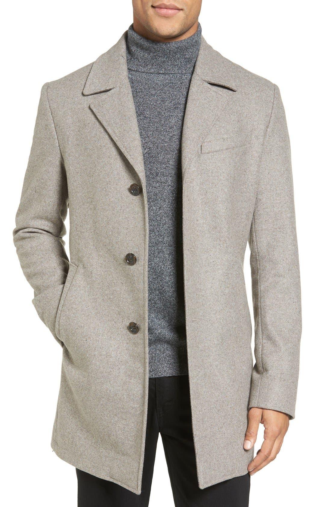 Michael Kors Slim Fit Wool Blend Top Coat