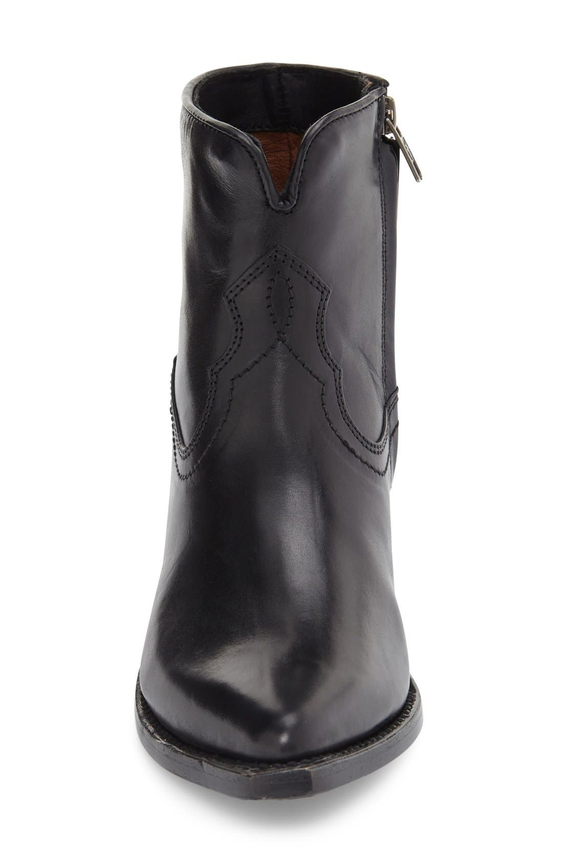 'Shane' Western Bootie,                             Alternate thumbnail 3, color,                             Black Leather