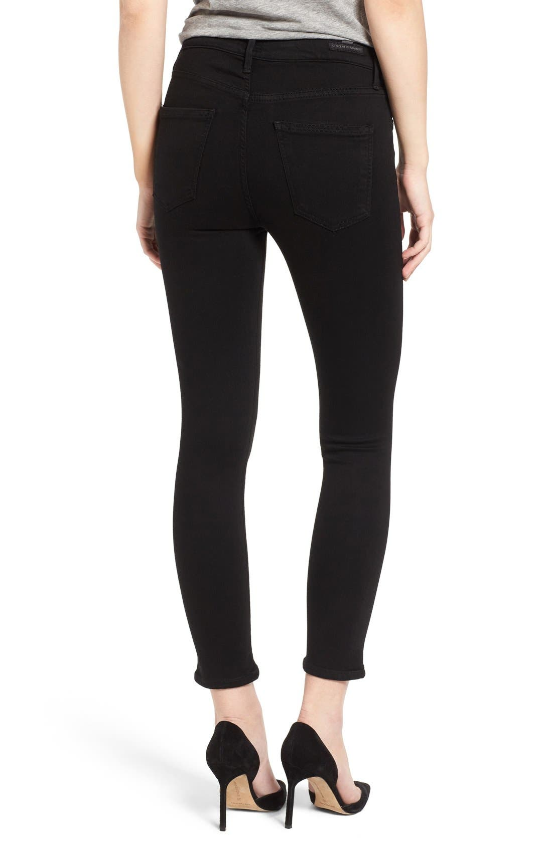 Rocket High Rise Crop Skinny Jeans,                             Alternate thumbnail 2, color,                             All Black