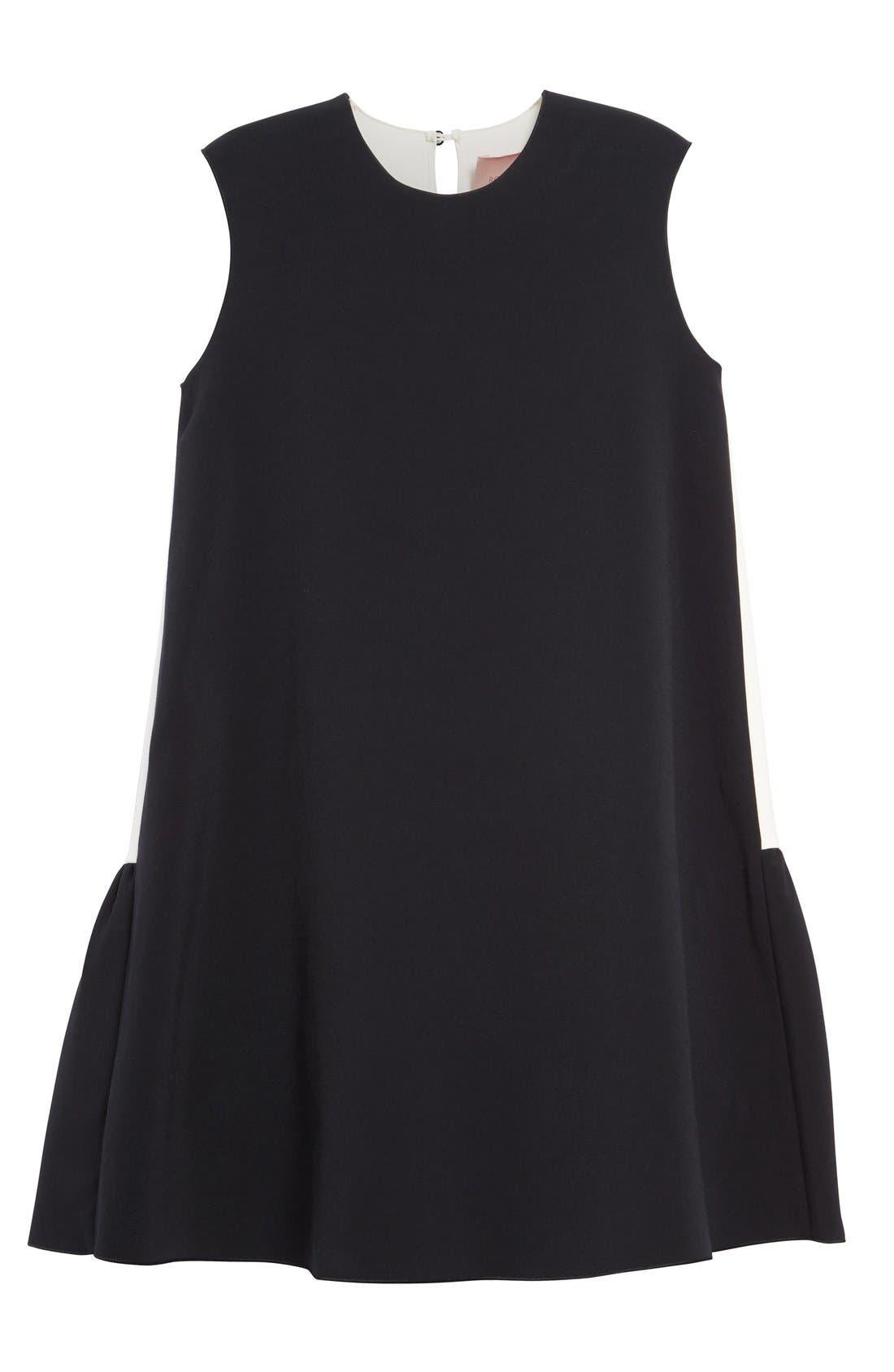 Fuji Colorblock Ruffle Hem Trapeze Dress,                             Alternate thumbnail 4, color,                             Black/ White