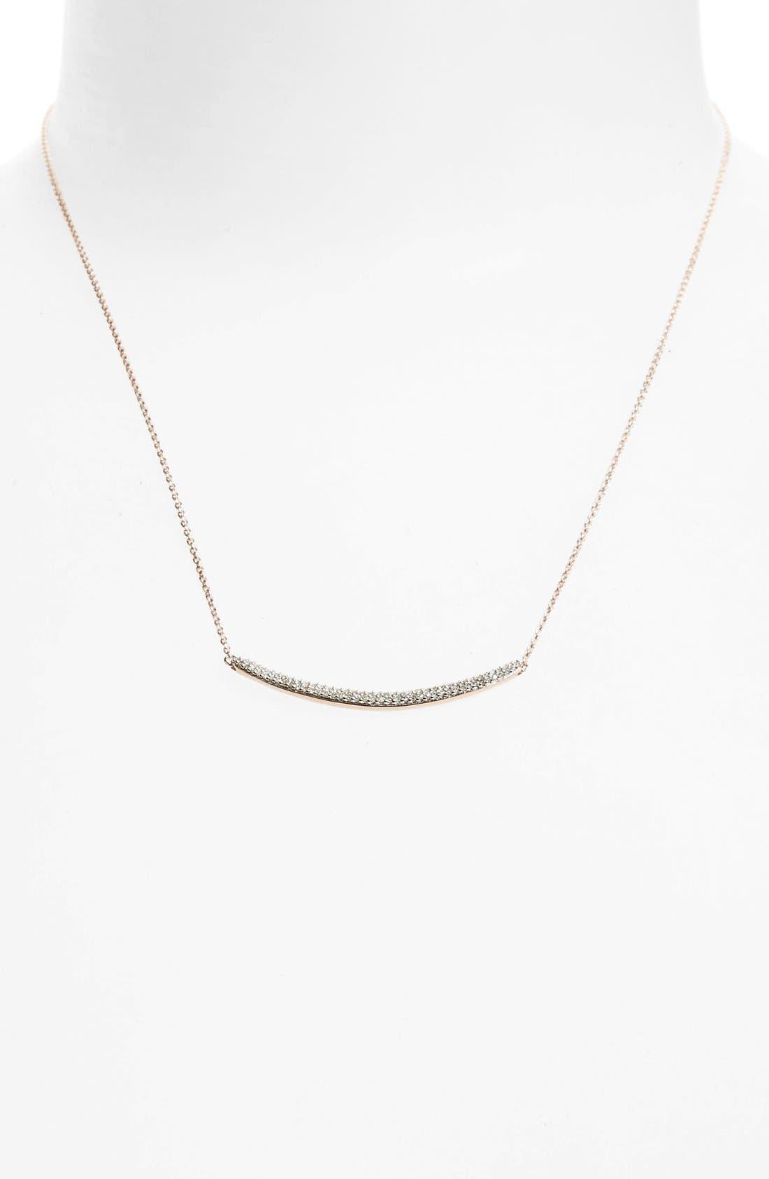 Skinny Diamond Necklace,                             Alternate thumbnail 2, color,                             Rose Gold