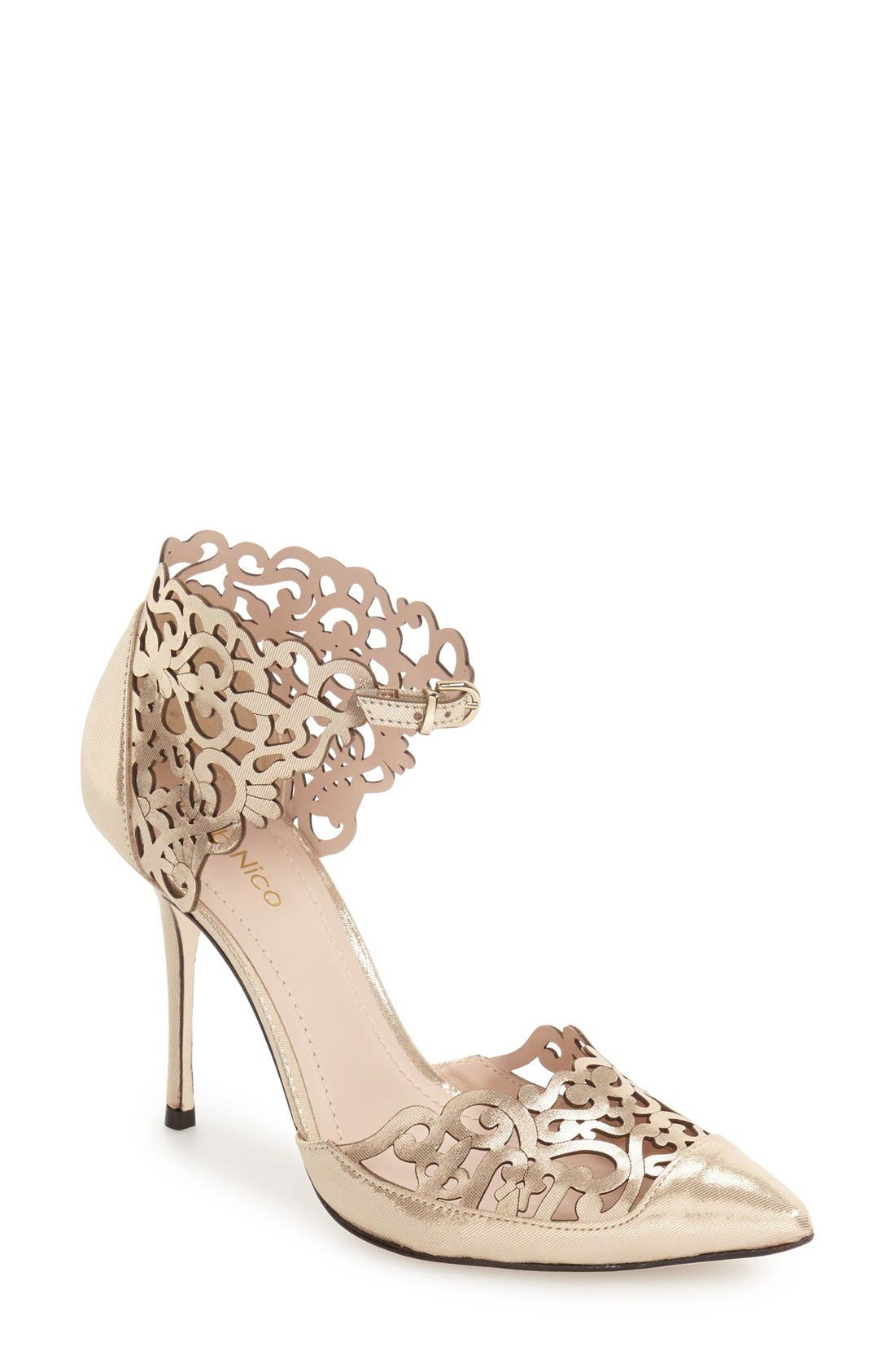Roxie Pointy Toe Pump,                             Main thumbnail 1, color,                             Champagne Leather