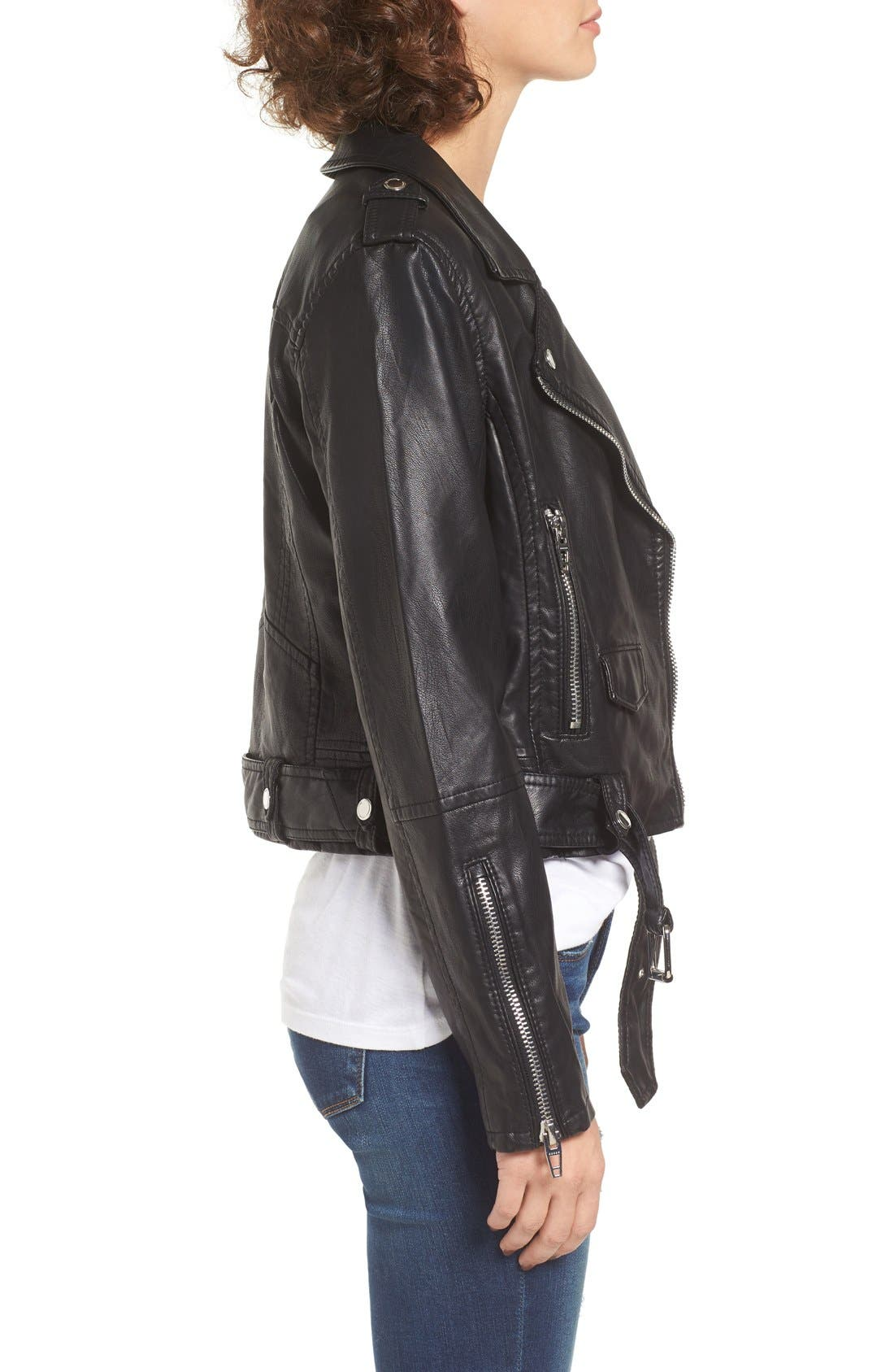 Faux Leather Crop Moto Jacket,                             Alternate thumbnail 3, color,                             Squad Goals
