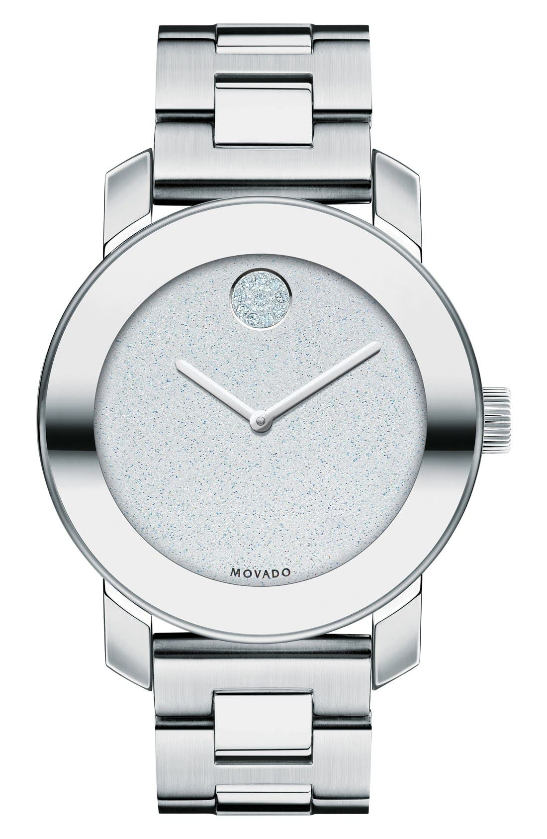 Main Image - Movado Bold Crystal Marker Bracelet Watch, 36mm (Nordstrom Online Exclusive)